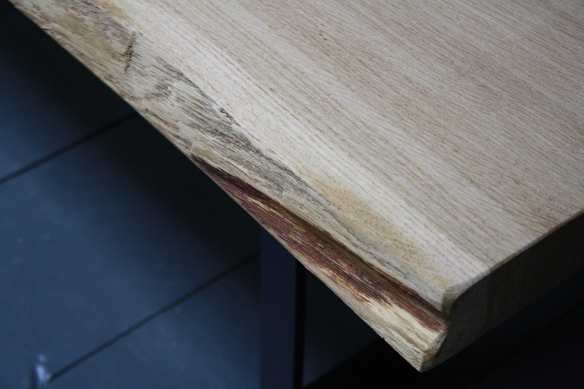 Eikenhouten salontafel met ijzeren onderstel 250 cm-9