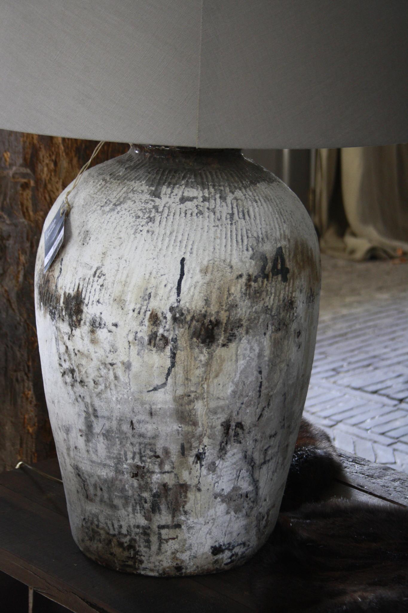 Kruiklamp oude rijstwijnpot + kap 83 cm-3