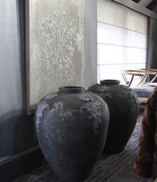 PTMD set potten/vazen steen grafeer grijs 75 x 63 cm