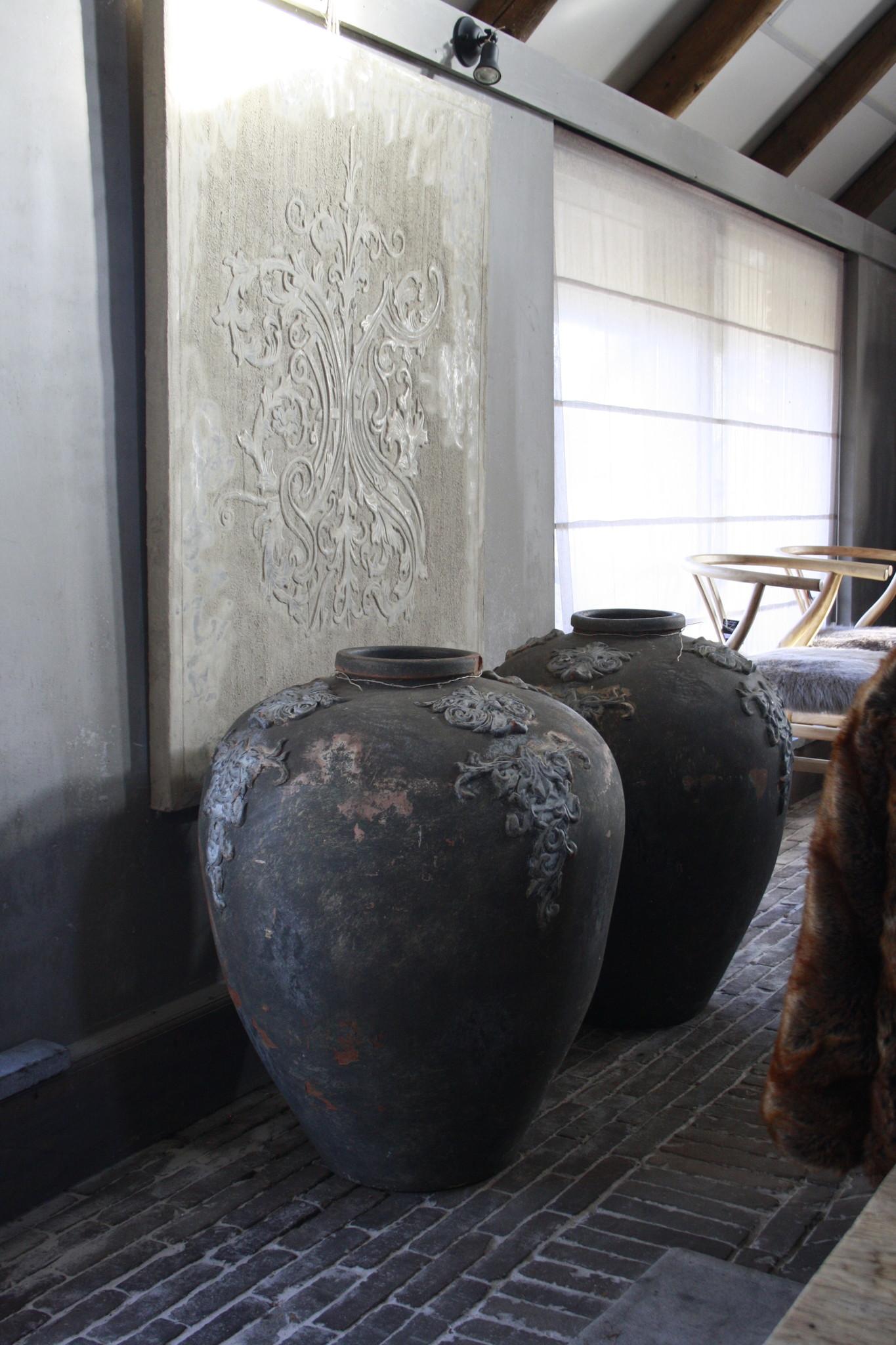 PTMD set potten/vazen steen grafeer grijs 75 x 63 cm-1