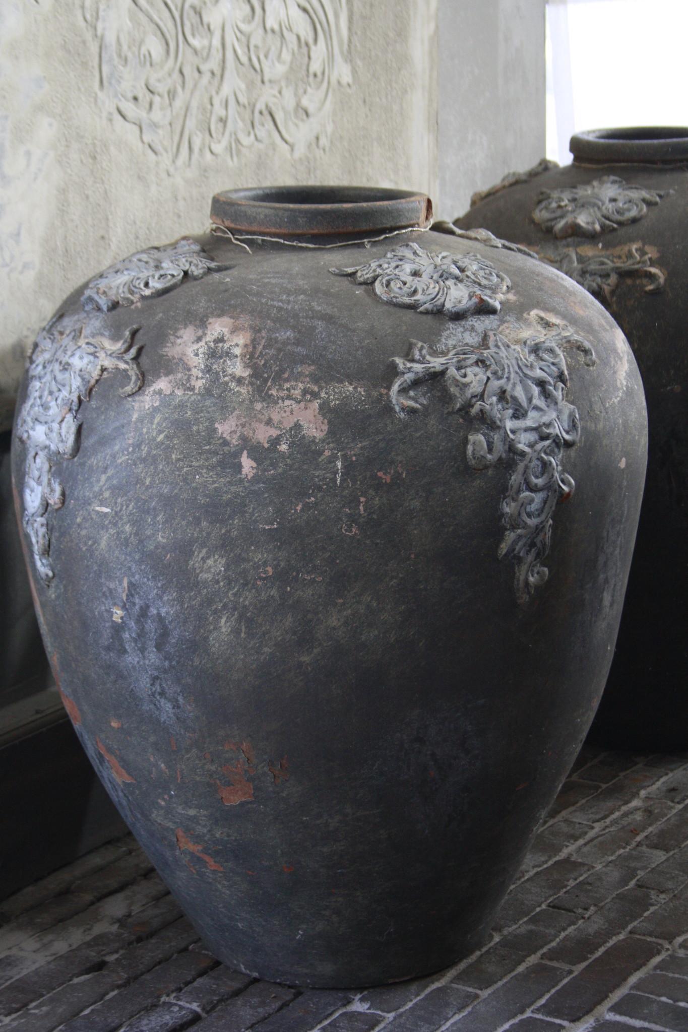 PTMD set potten/vazen steen grafeer grijs 75 x 63 cm-2