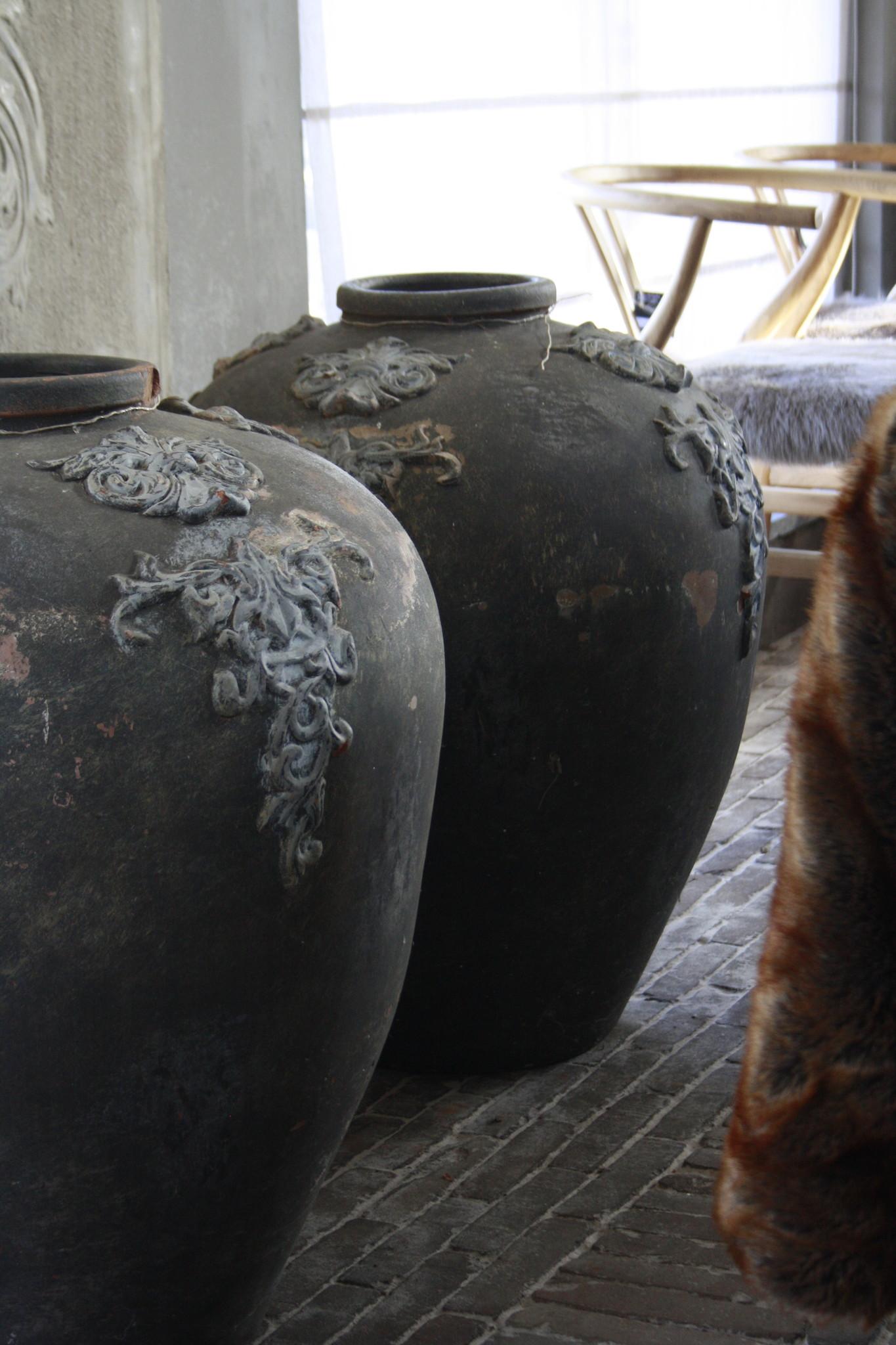 PTMD set potten/vazen steen grafeer grijs 75 x 63 cm-3