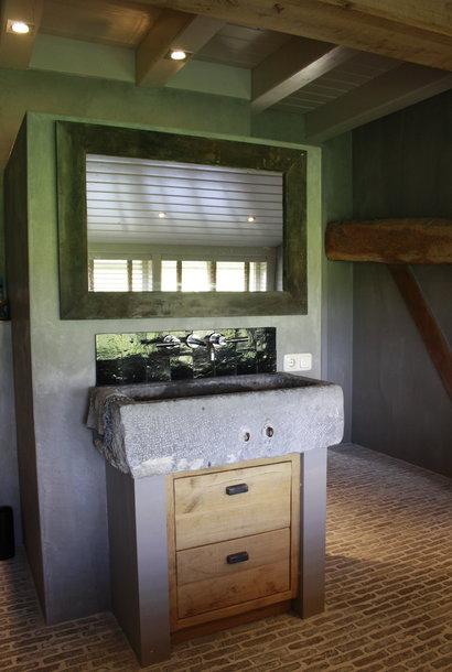 Spiegel 110 cm oud eiken wagondelen massief