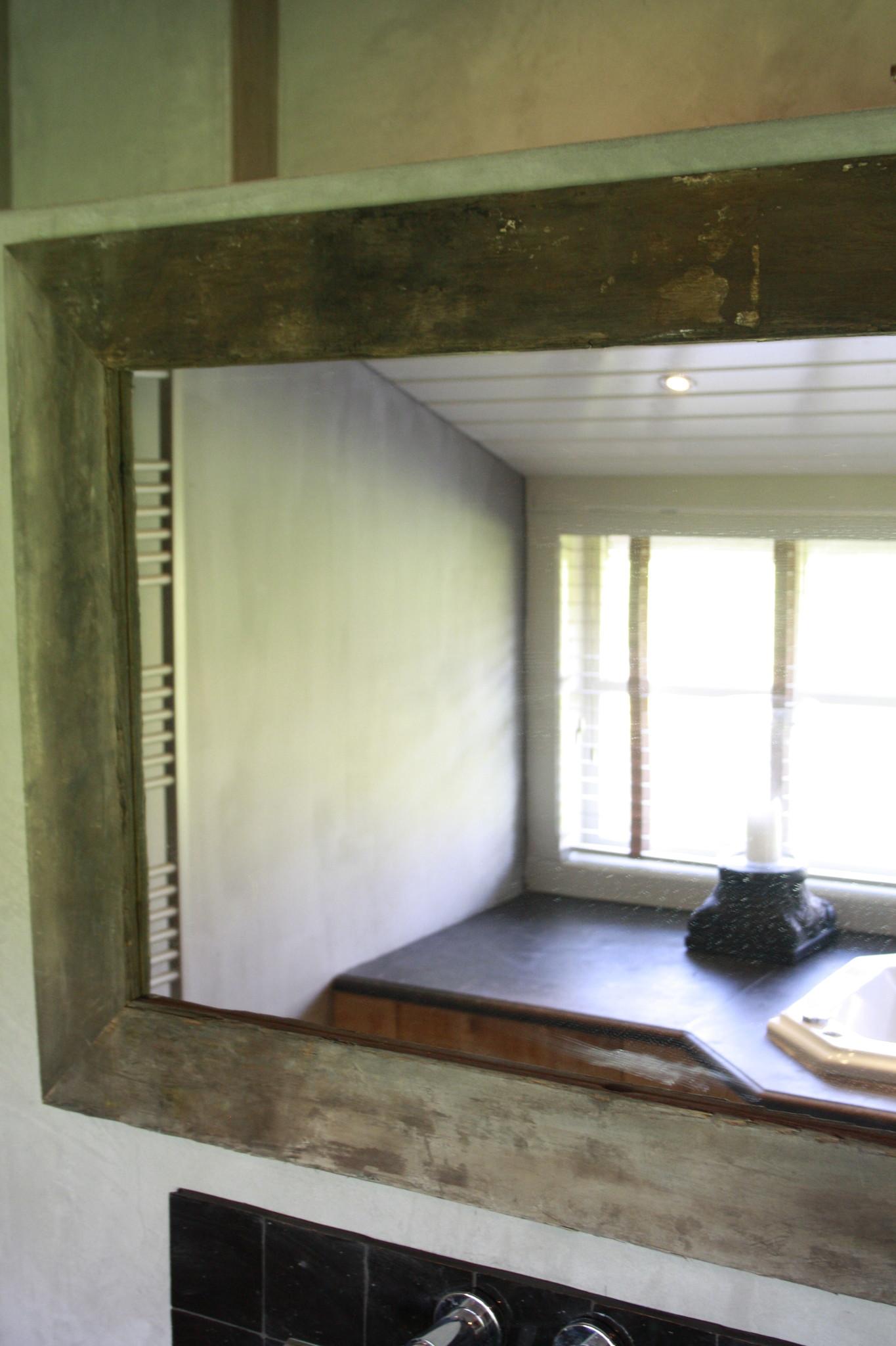 Spiegel 110 cm oud eiken wagondelen massief-3