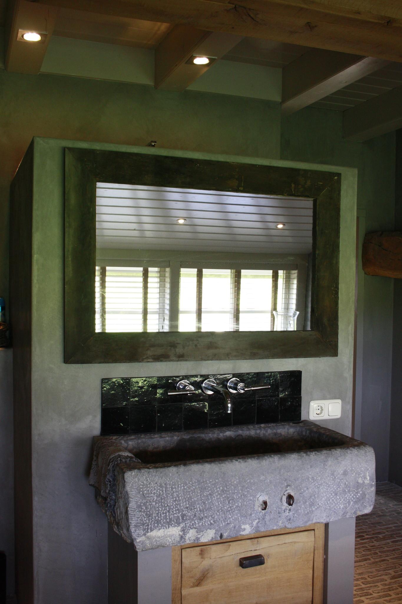 Spiegel 110 cm oud eiken wagondelen massief-5