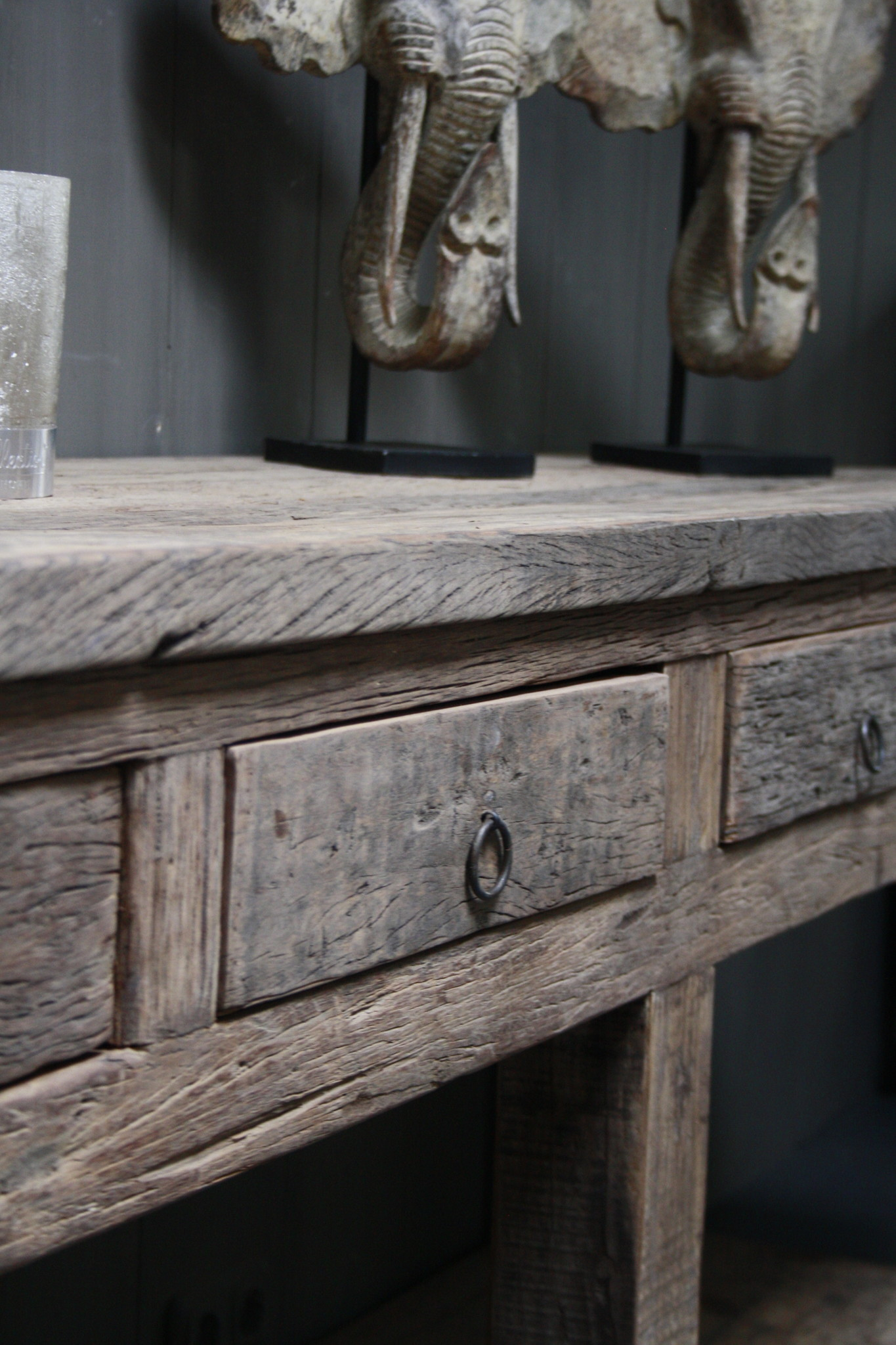 Sidetable Bassano oud hout met lades 226 x 60 x 90-3