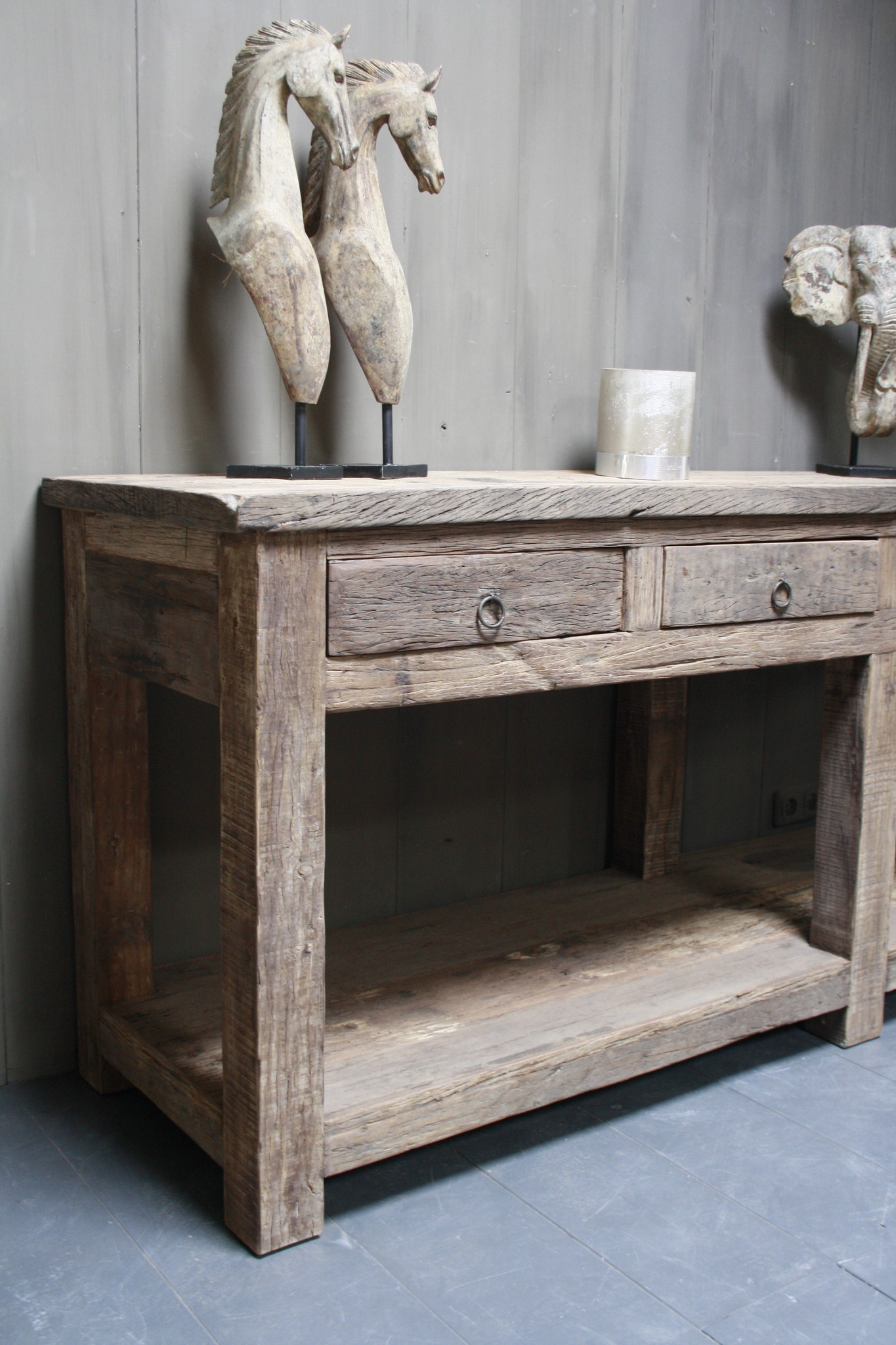 Sidetable Bassano oud hout met lades 226 x 60 x 90-2