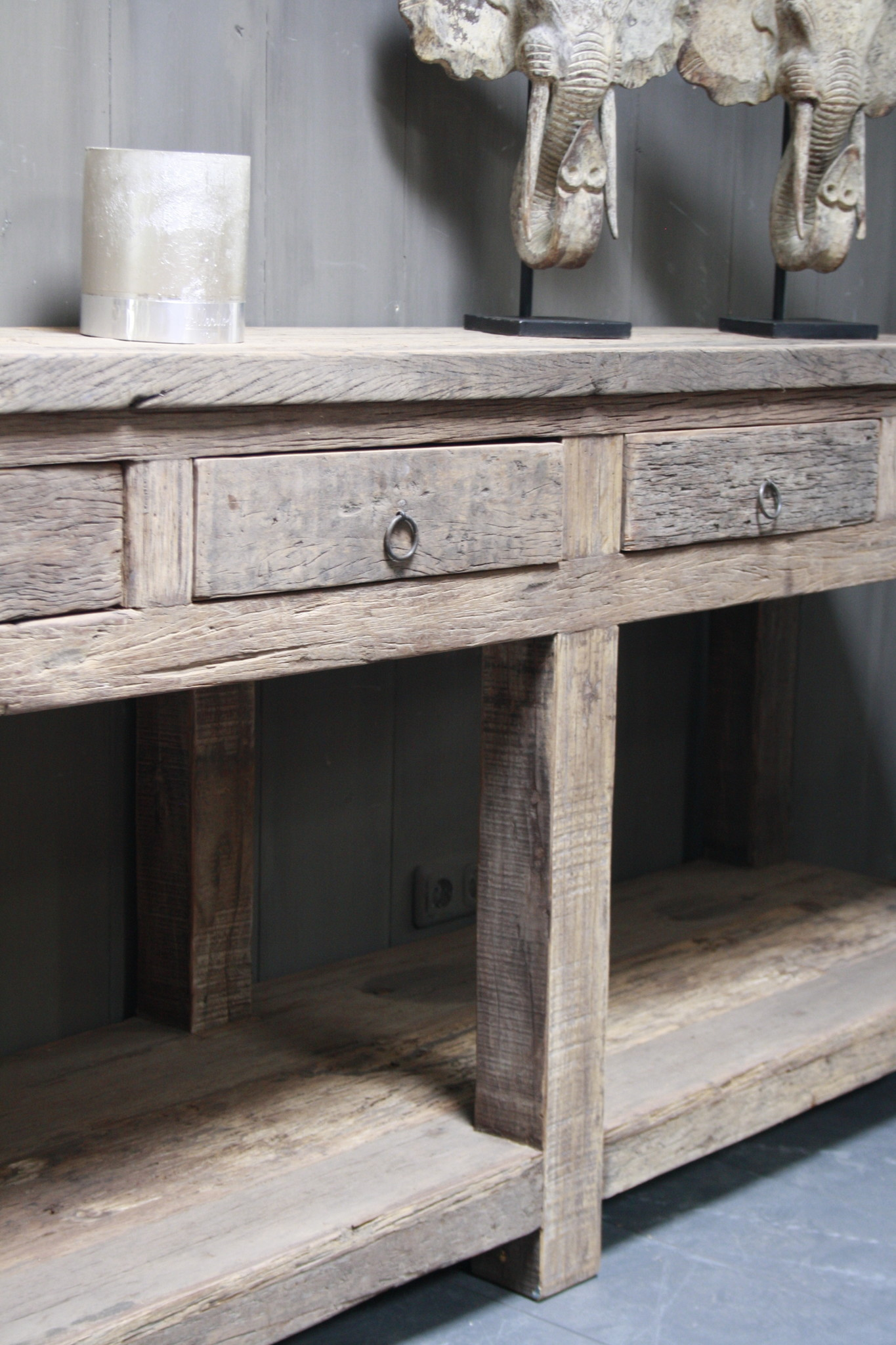 Sidetable Bassano oud hout met lades 226 x 60 x 90-4