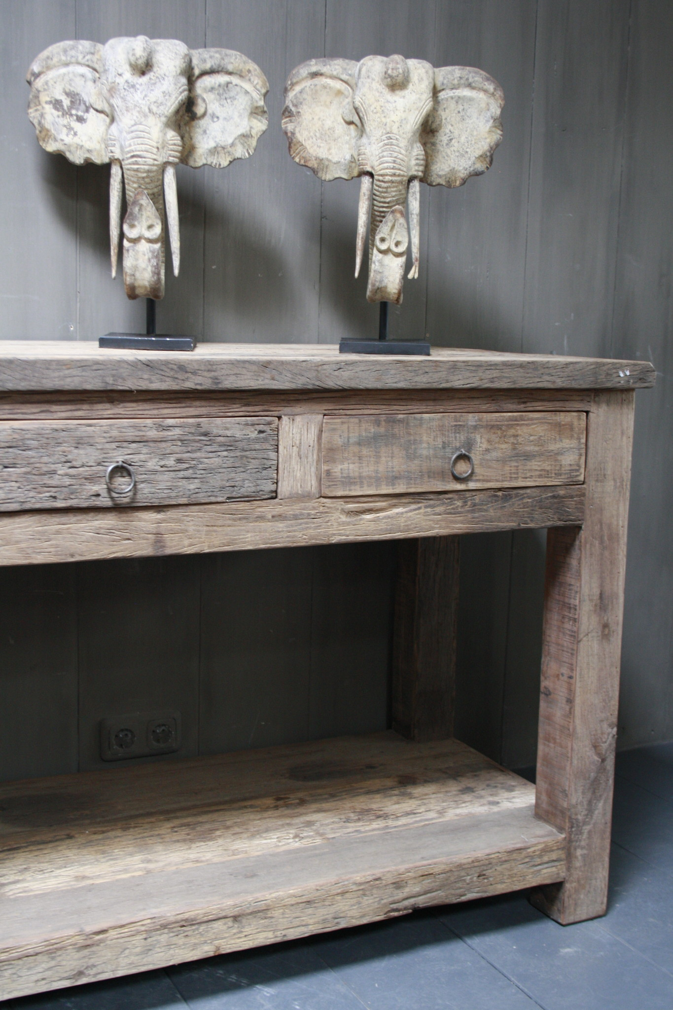 Sidetable Bassano oud hout met lades 226 x 60 x 90-5
