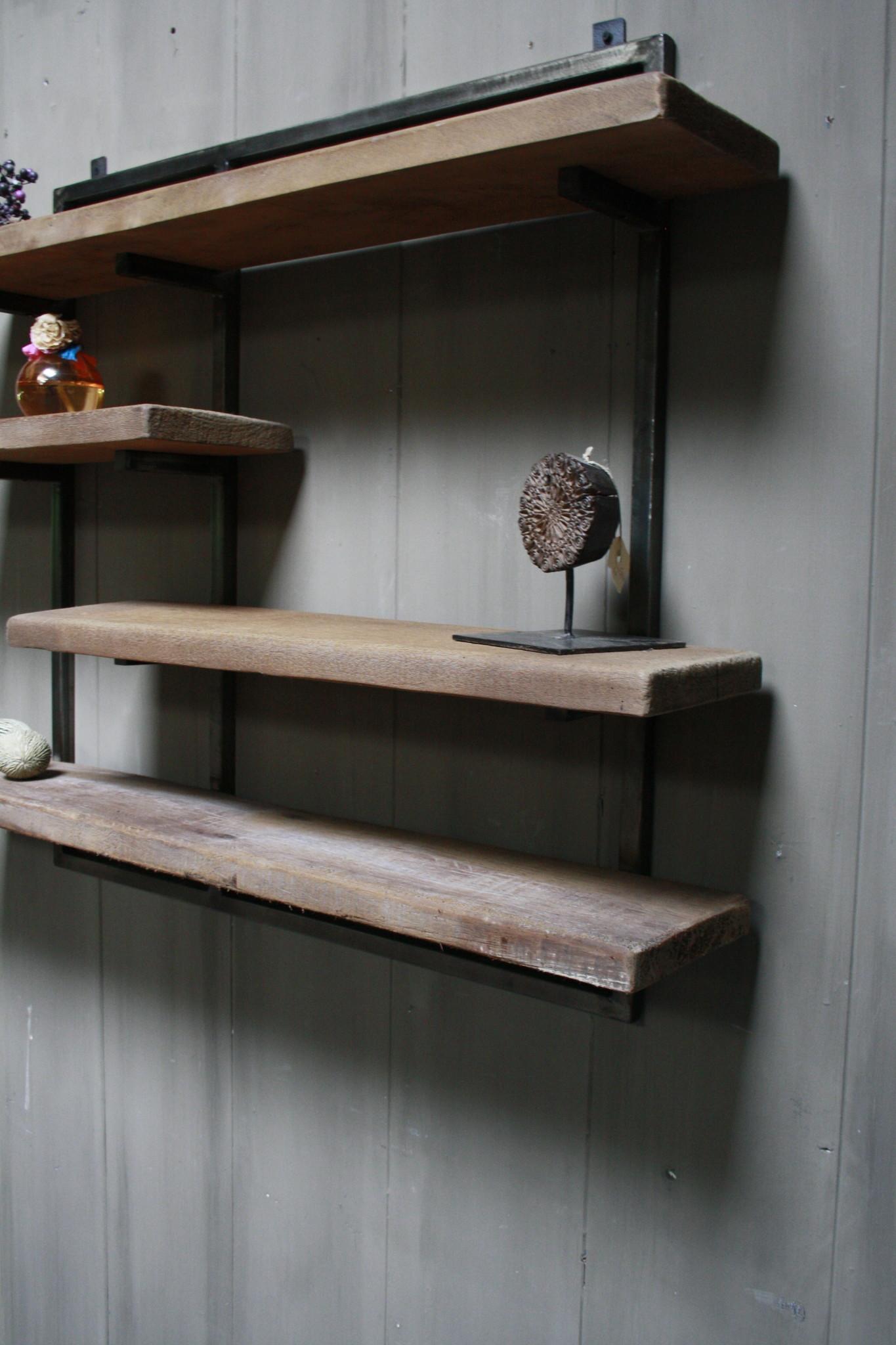 Woody metaal wandrek 4 planken 82 x 100 cm-3