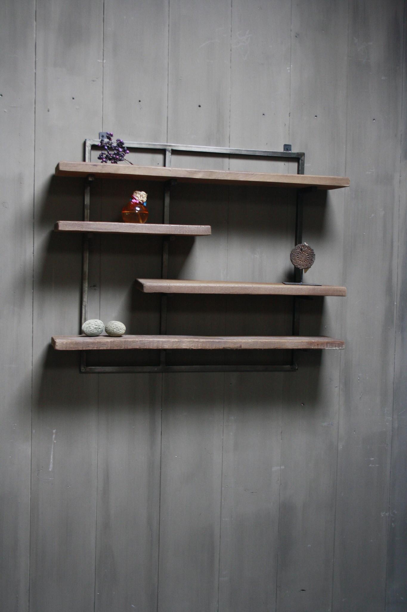 Woody metaal wandrek 4 planken 82 x 100 cm-2