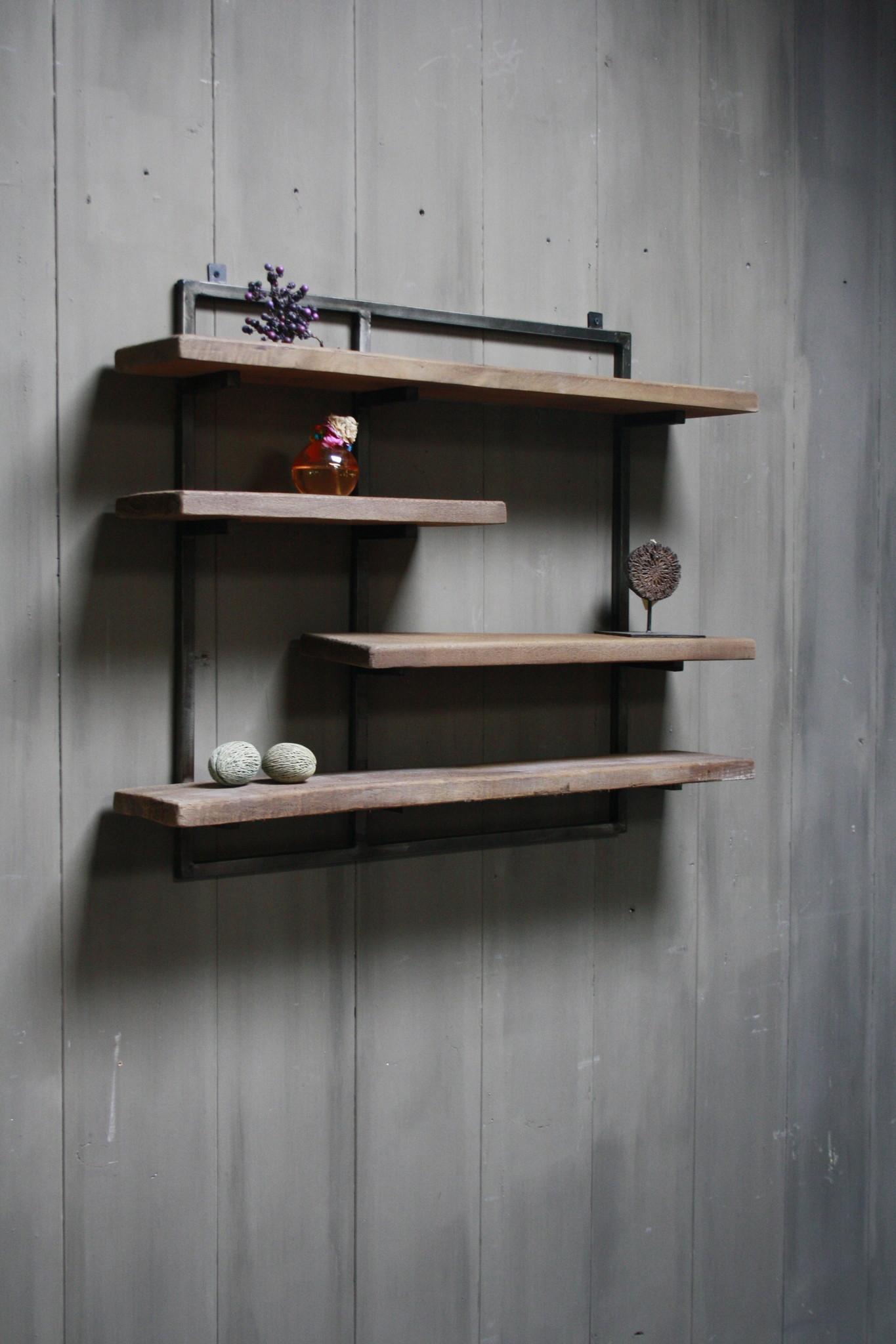 Woody metaal wandrek 4 planken 82 x 100 cm-1