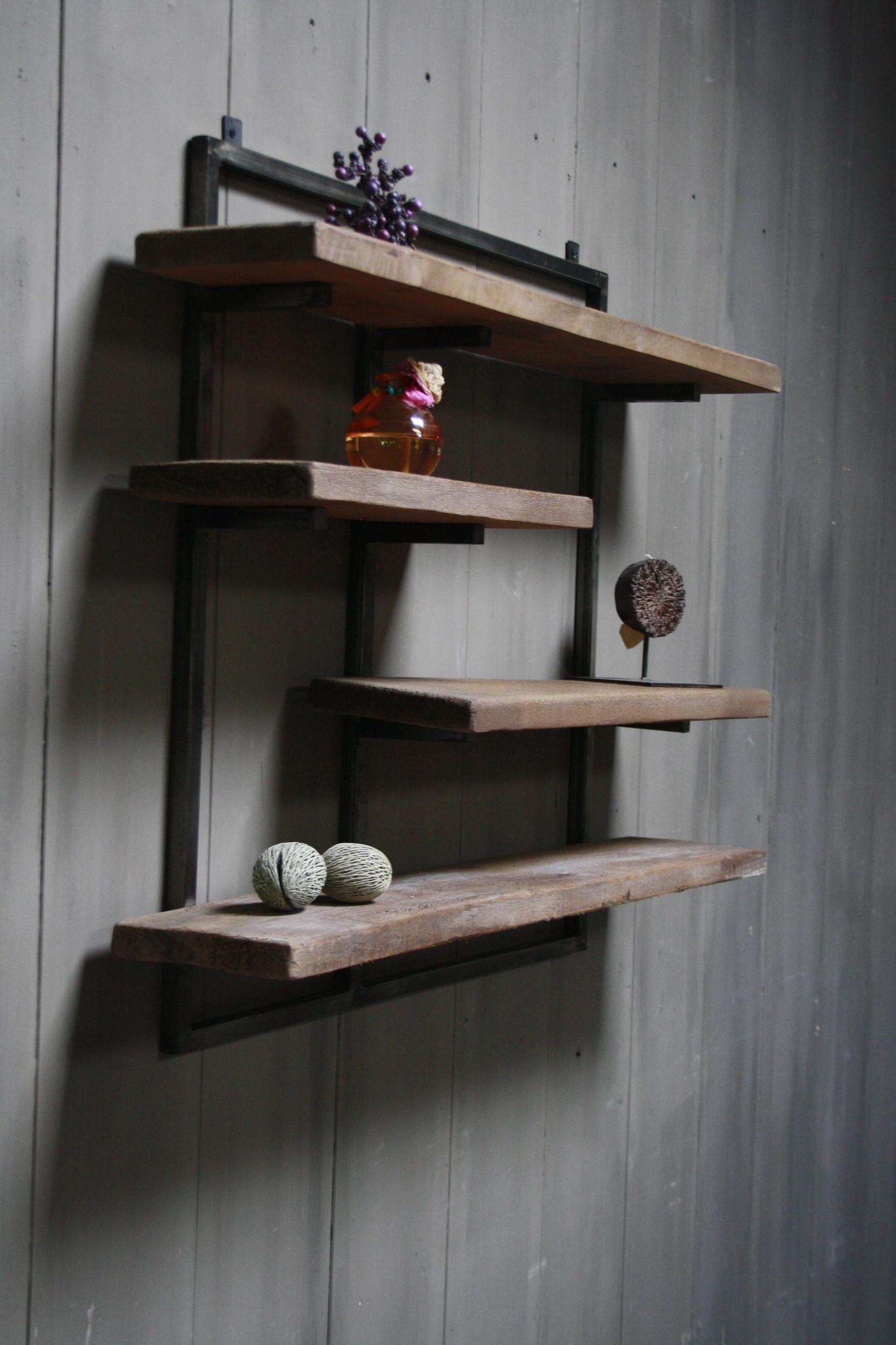 Woody metaal wandrek 4 planken 82 x 100 cm-4