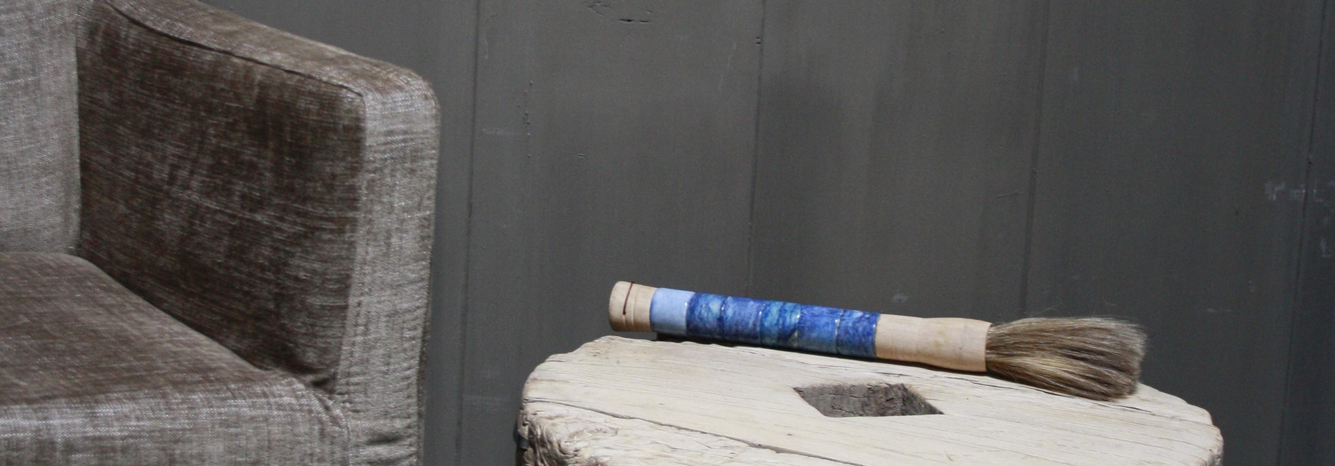 Salontafel/bijzettafel oud houten wiel India 50 cm