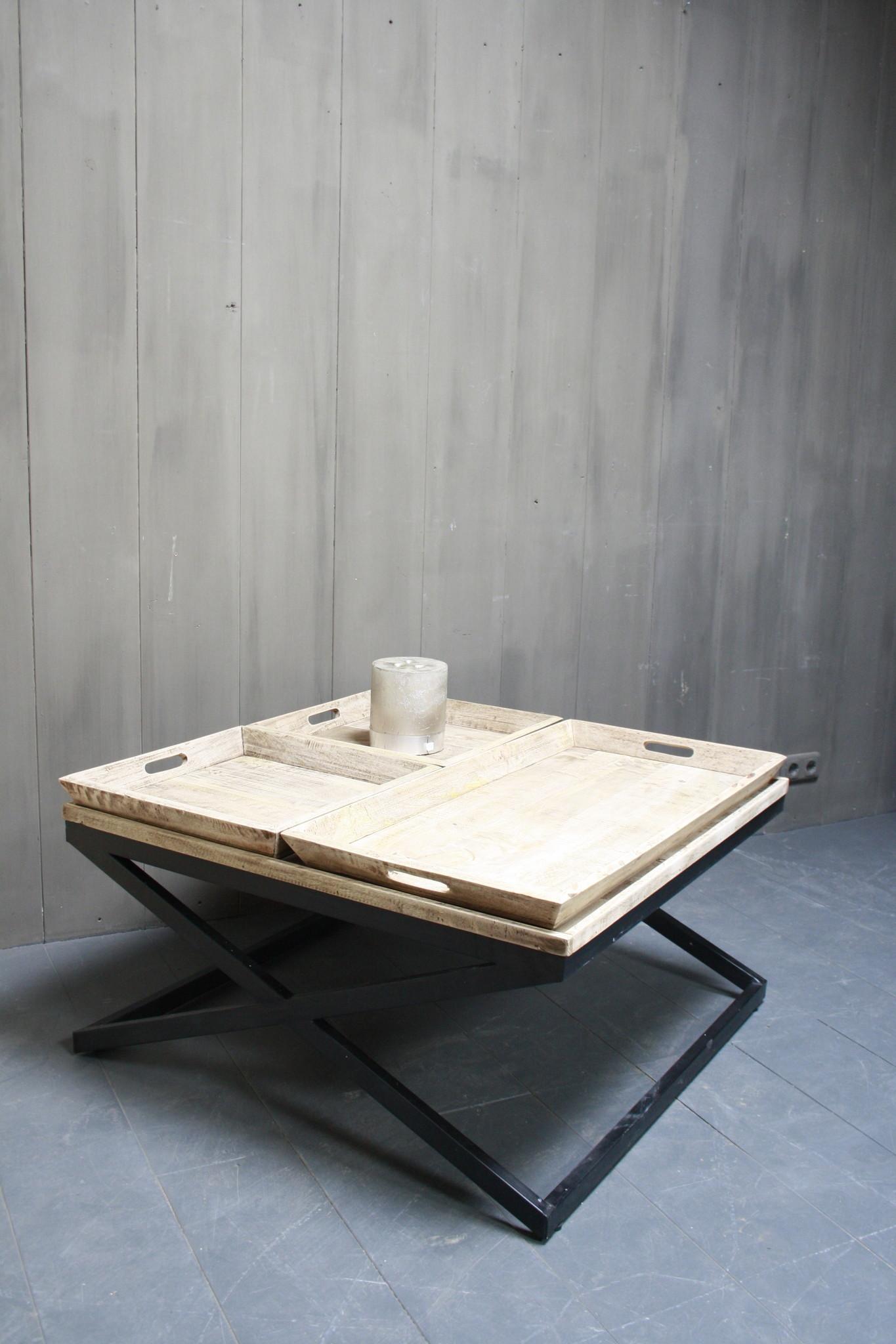 Salontafel met dienbladen 100 x 100 x 50 cm-2