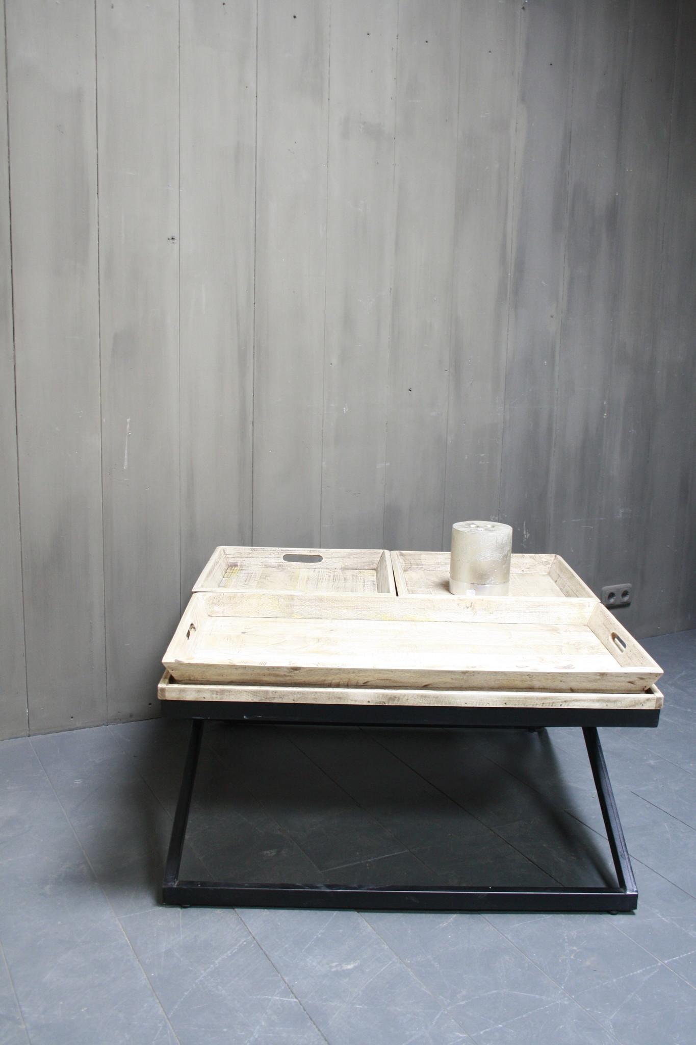 Salontafel met dienbladen 100 x 100 x 50 cm-3