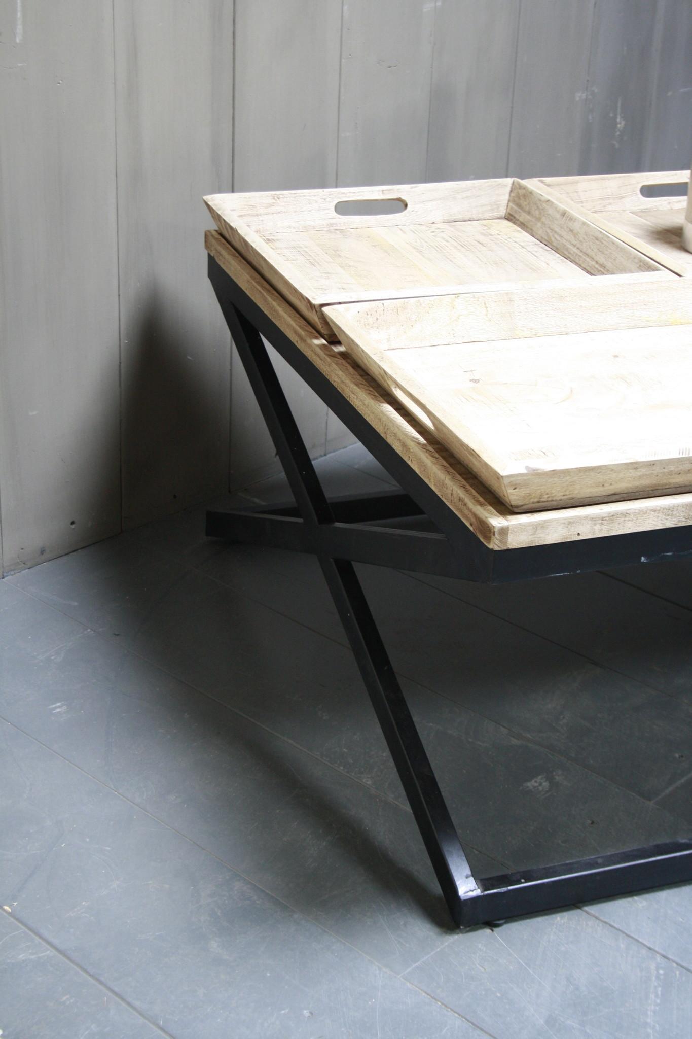 Salontafel met dienbladen 100 x 100 x 50 cm-6