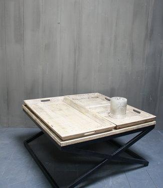 Rene Houtman Salontafel met dienbladen 100 x 100 x 50 cm