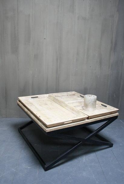 Salontafel met dienbladen 100 x 100 x 50 cm