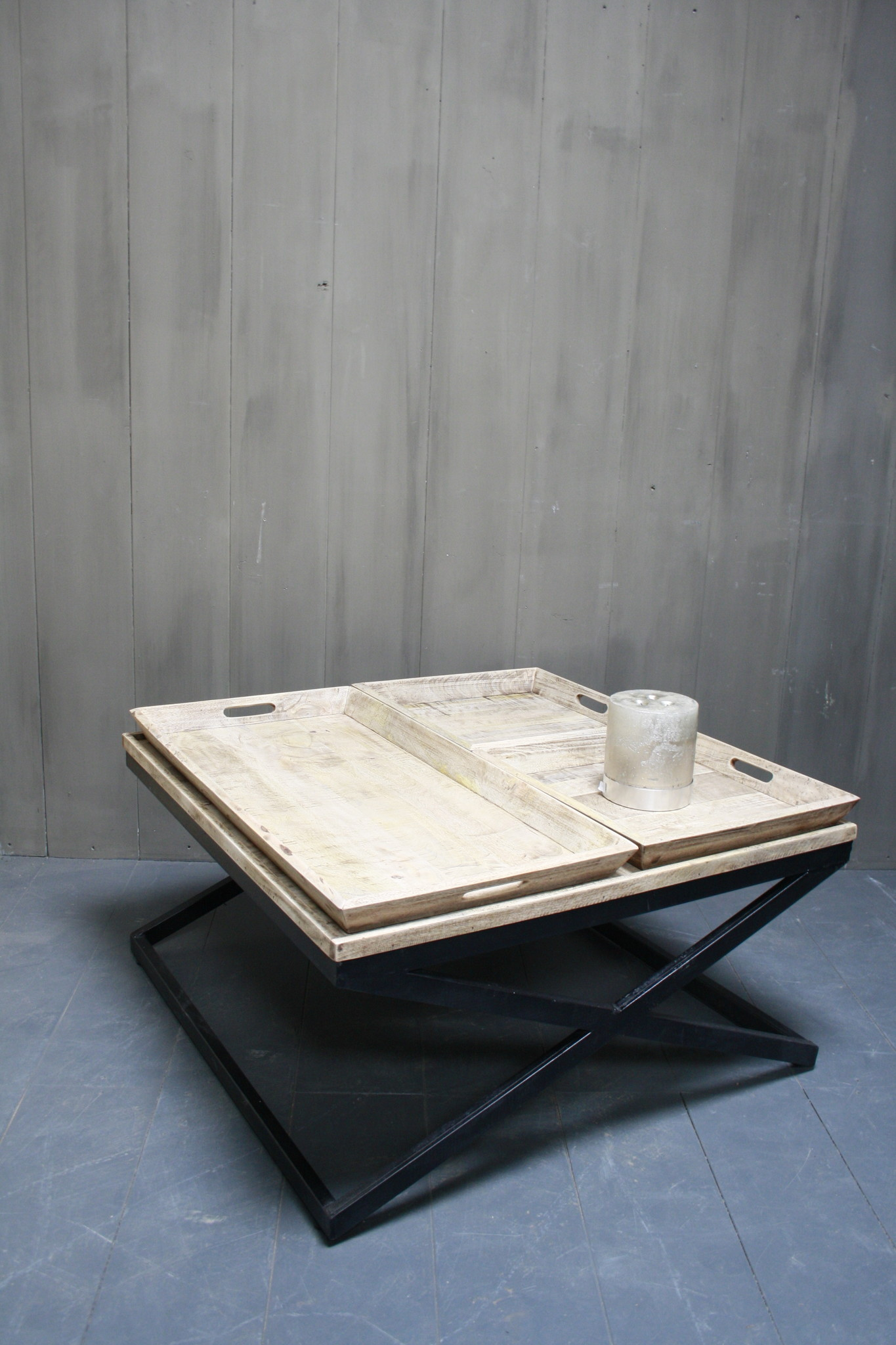 Salontafel met dienbladen 100 x 100 x 50 cm-1