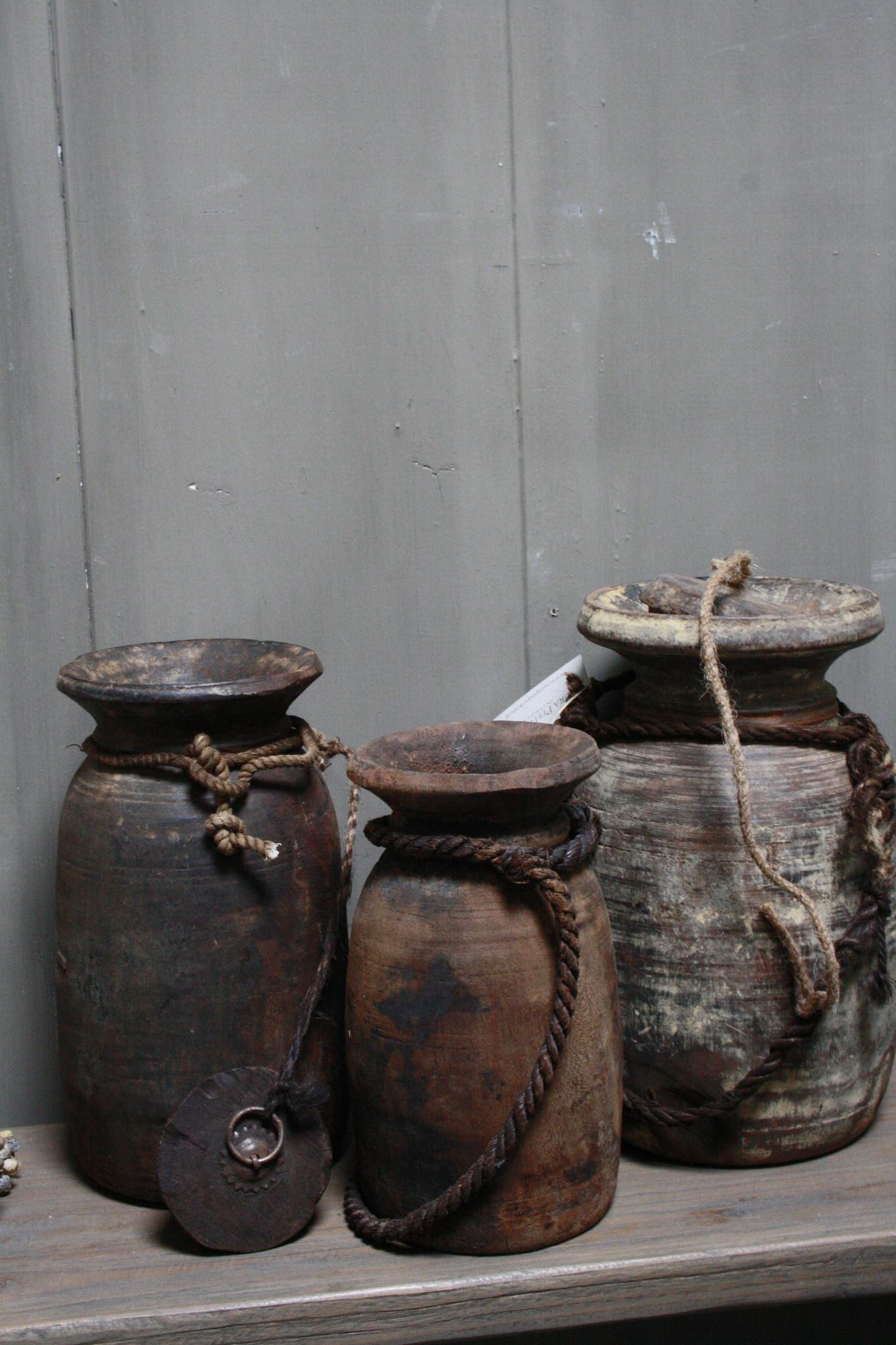 Oud Houten Kruik Nepal - Wooden Nepal Pot 28 cm-4