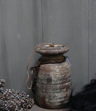 Aura Peeperkorn Oud Houten Kruik Nepal - Wooden Nepal Pot 28 cm