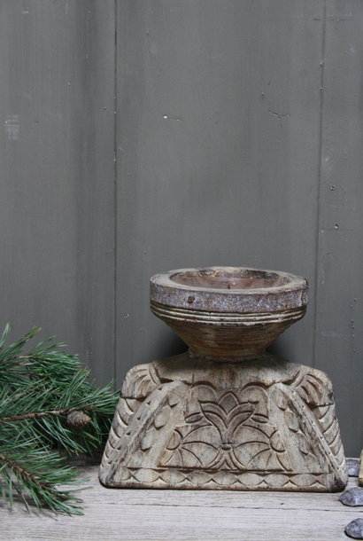 Oud houten kandelaar Aura Peeperkorn, handgemaakt