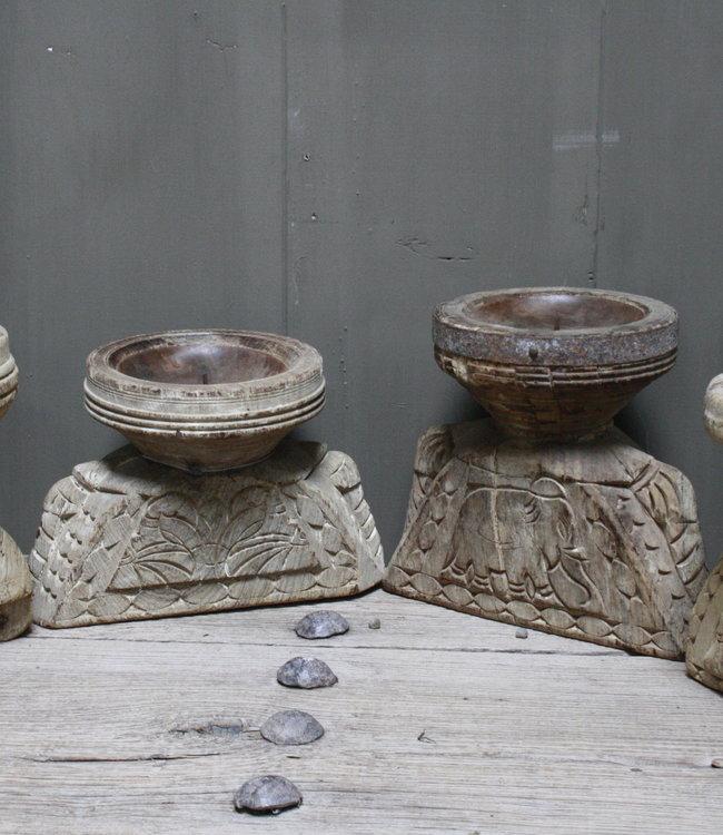 Aura Peeperkorn *Voor nu uitverkocht Oud houten kandelaar Aura Peeperkorn, handgemaakt