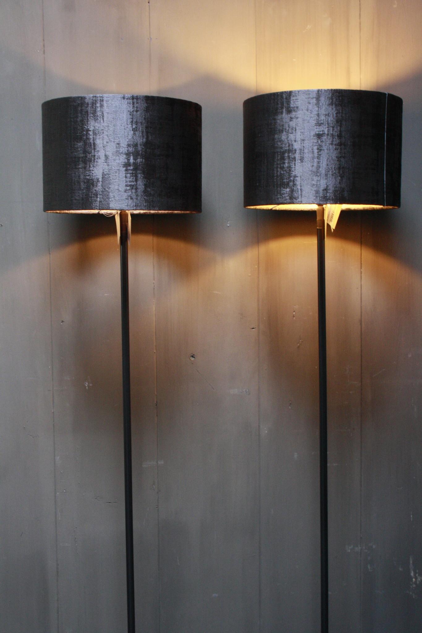 Vloerlamp 120 cm velvet robbs/taupe + natuurstenen voet-2
