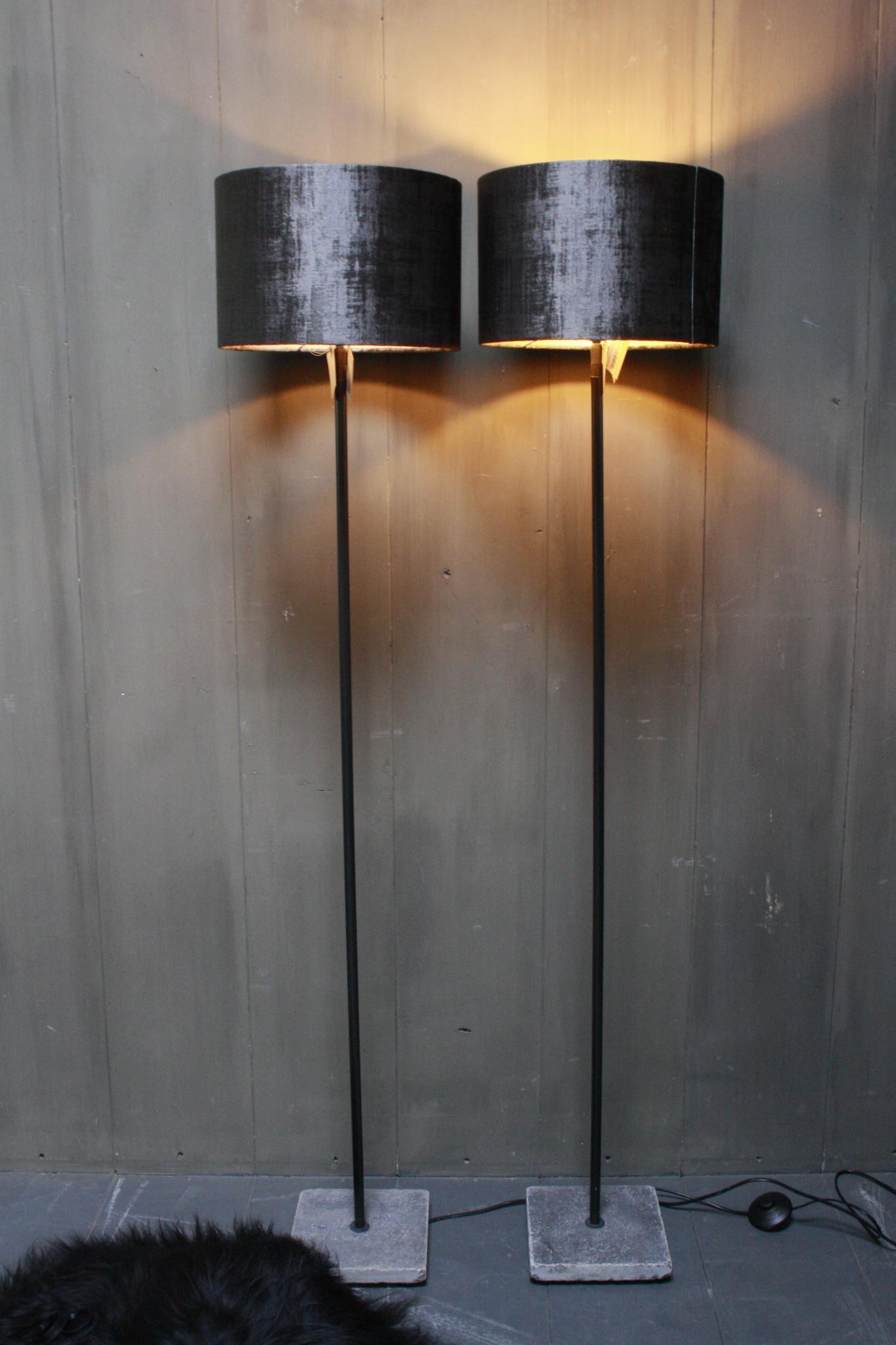 Vloerlamp 120 cm velvet robbs/taupe + natuurstenen voet-3