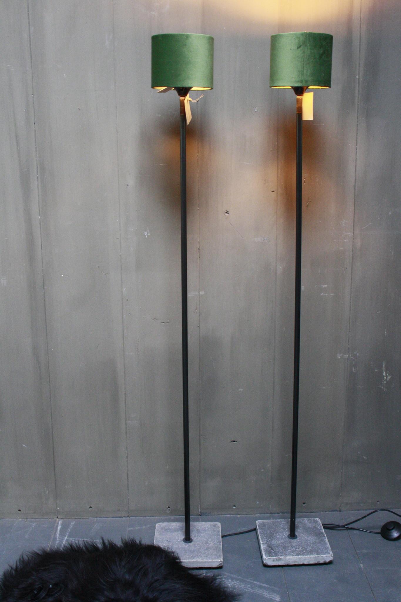 Vloerlamp 120 cm velvet fluweel groen + natuurstenen voet-1