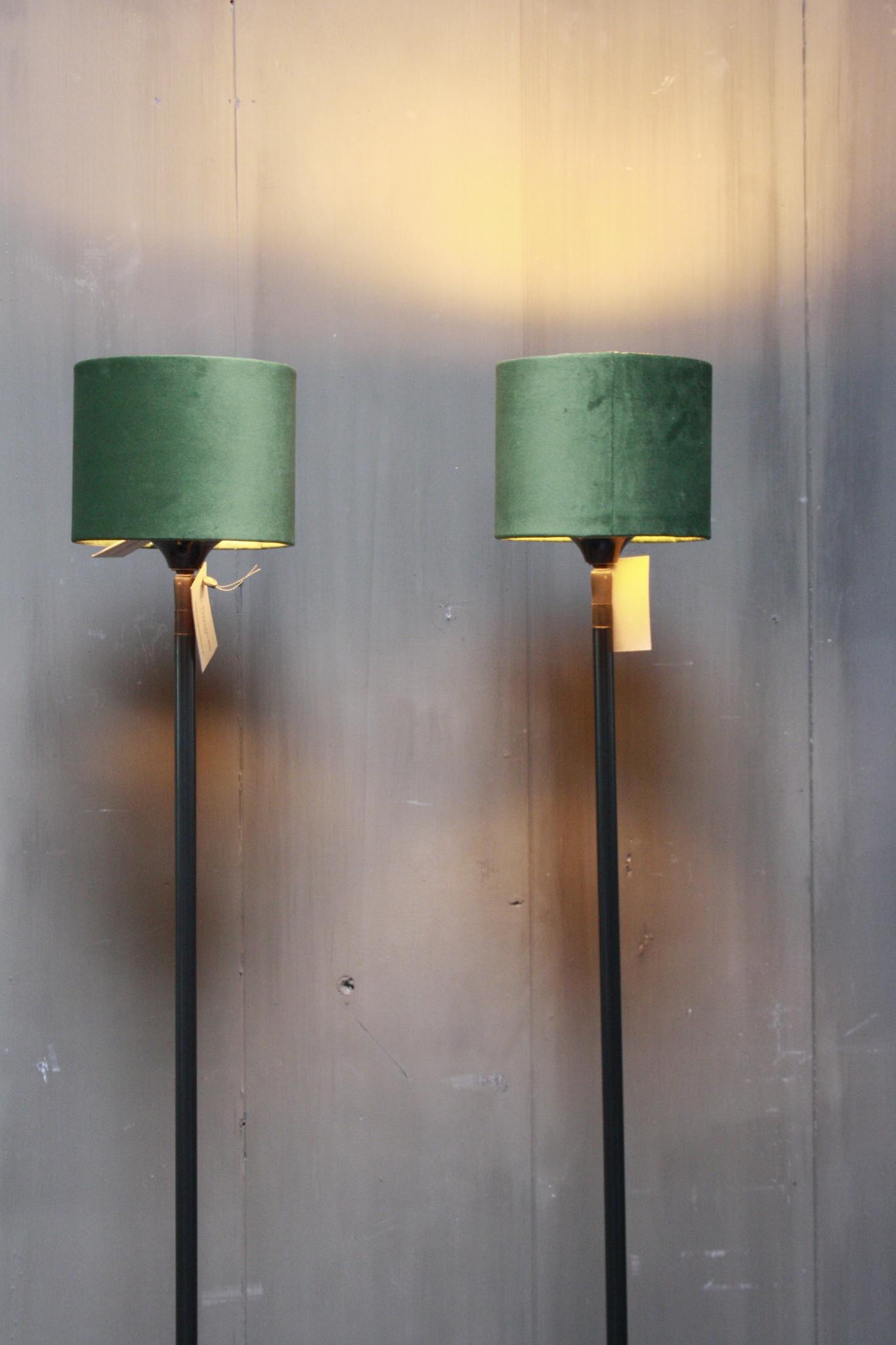 Vloerlamp 120 cm velvet fluweel groen + natuurstenen voet-2