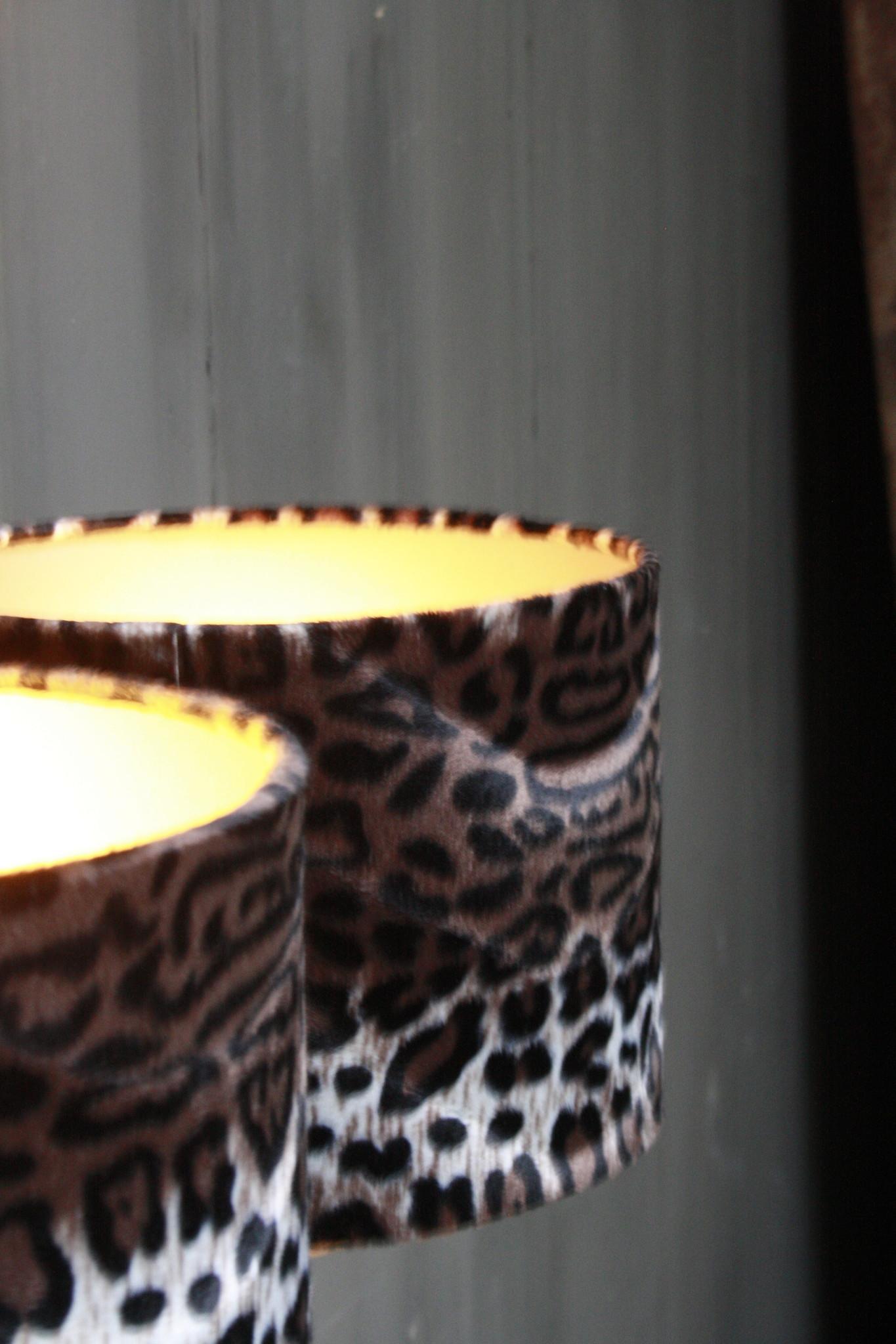 Vloerlamp 120 cm velvet luipaard/panterprint + natuurstenen voet-4