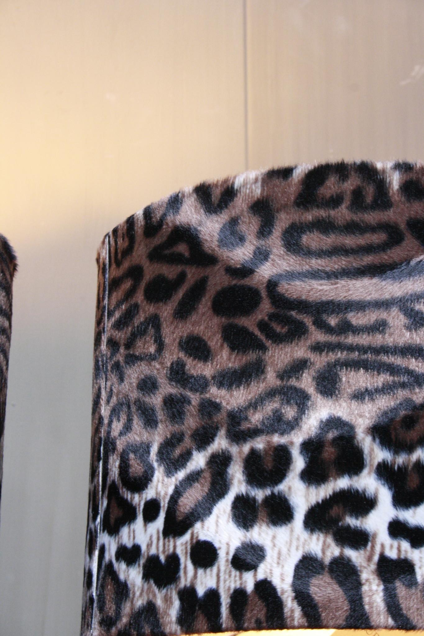 Vloerlamp 120 cm velvet luipaard/panterprint + natuurstenen voet-3