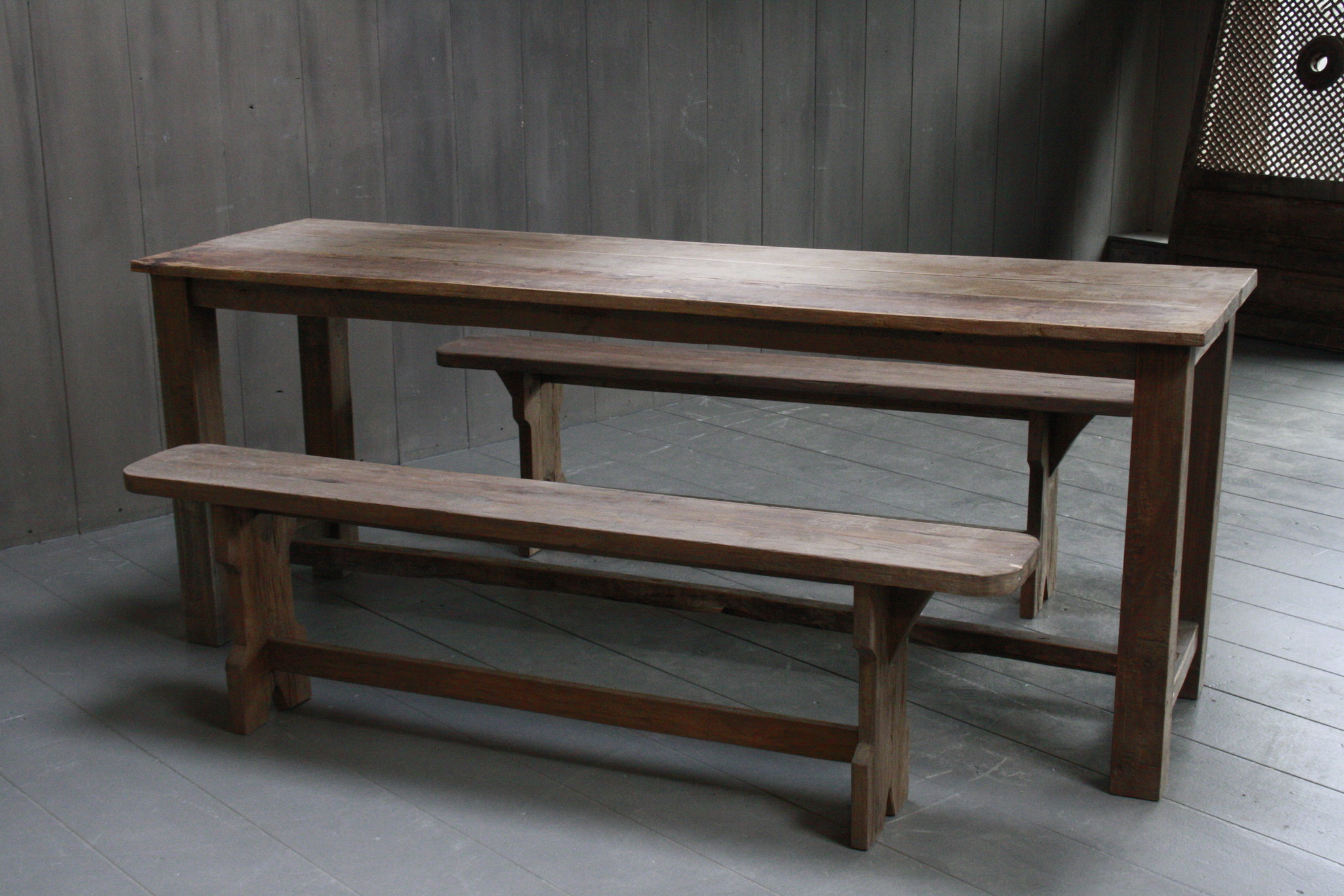 Oud houten eetkamer set met 2 houten bankjes-9