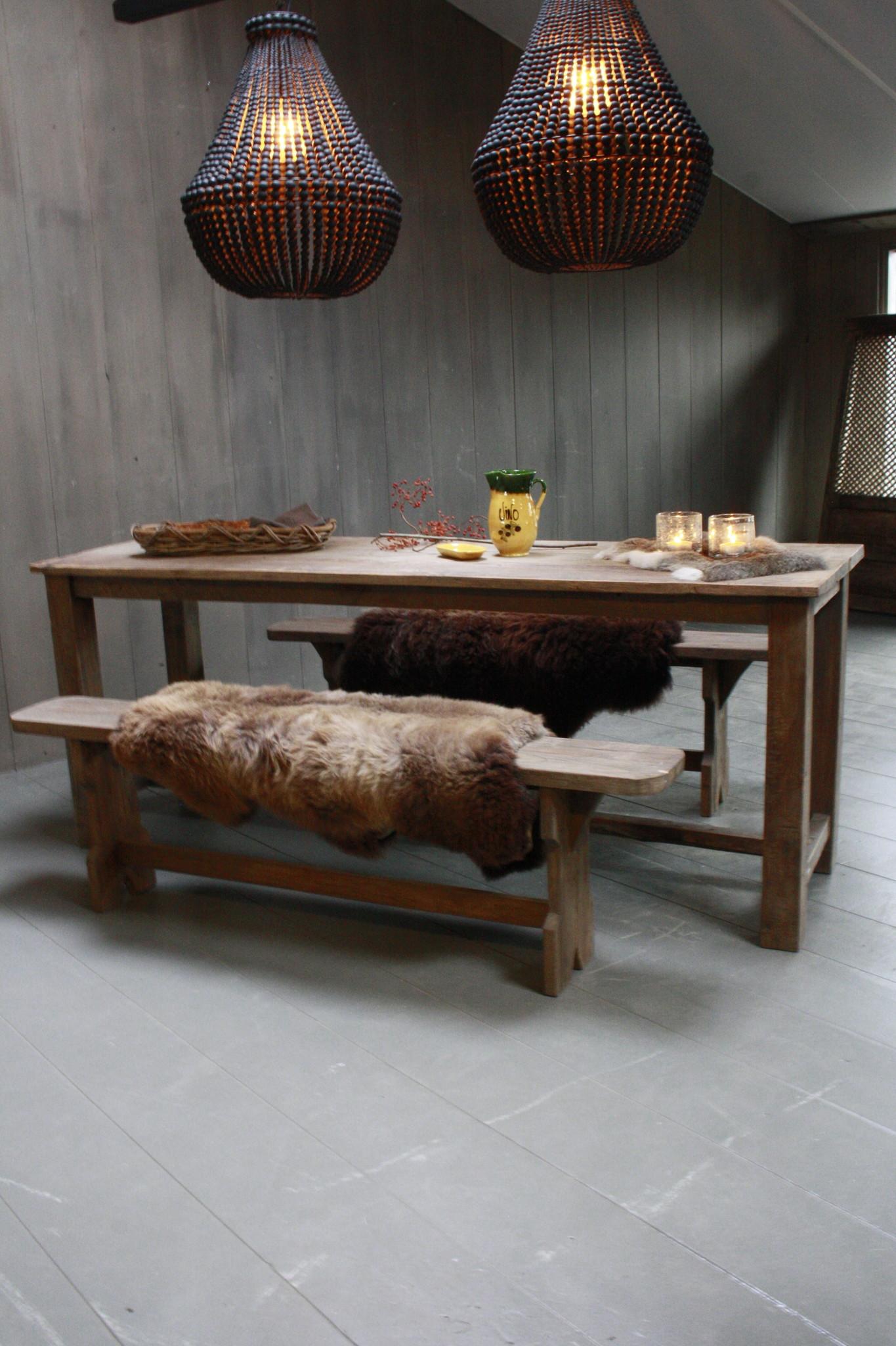Oud houten eetkamer set met 2 houten bankjes-2