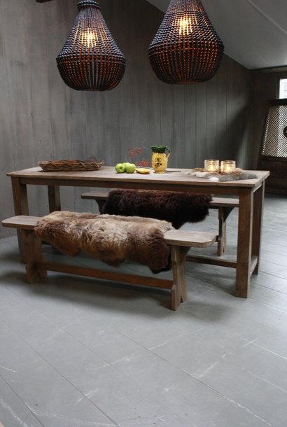 Oud houten eetkamer set met 2 houten bankjes