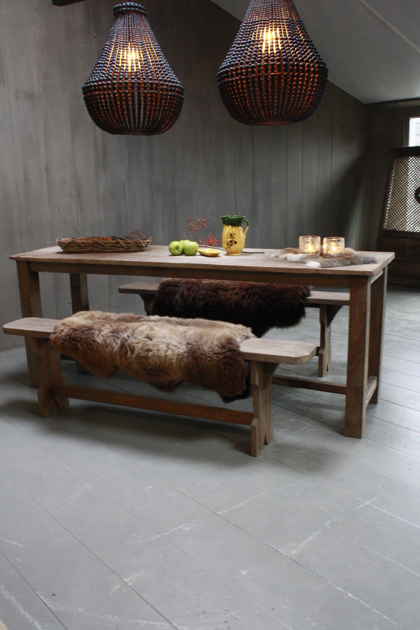 Oud houten eetkamer set met 2 houten bankjes-1