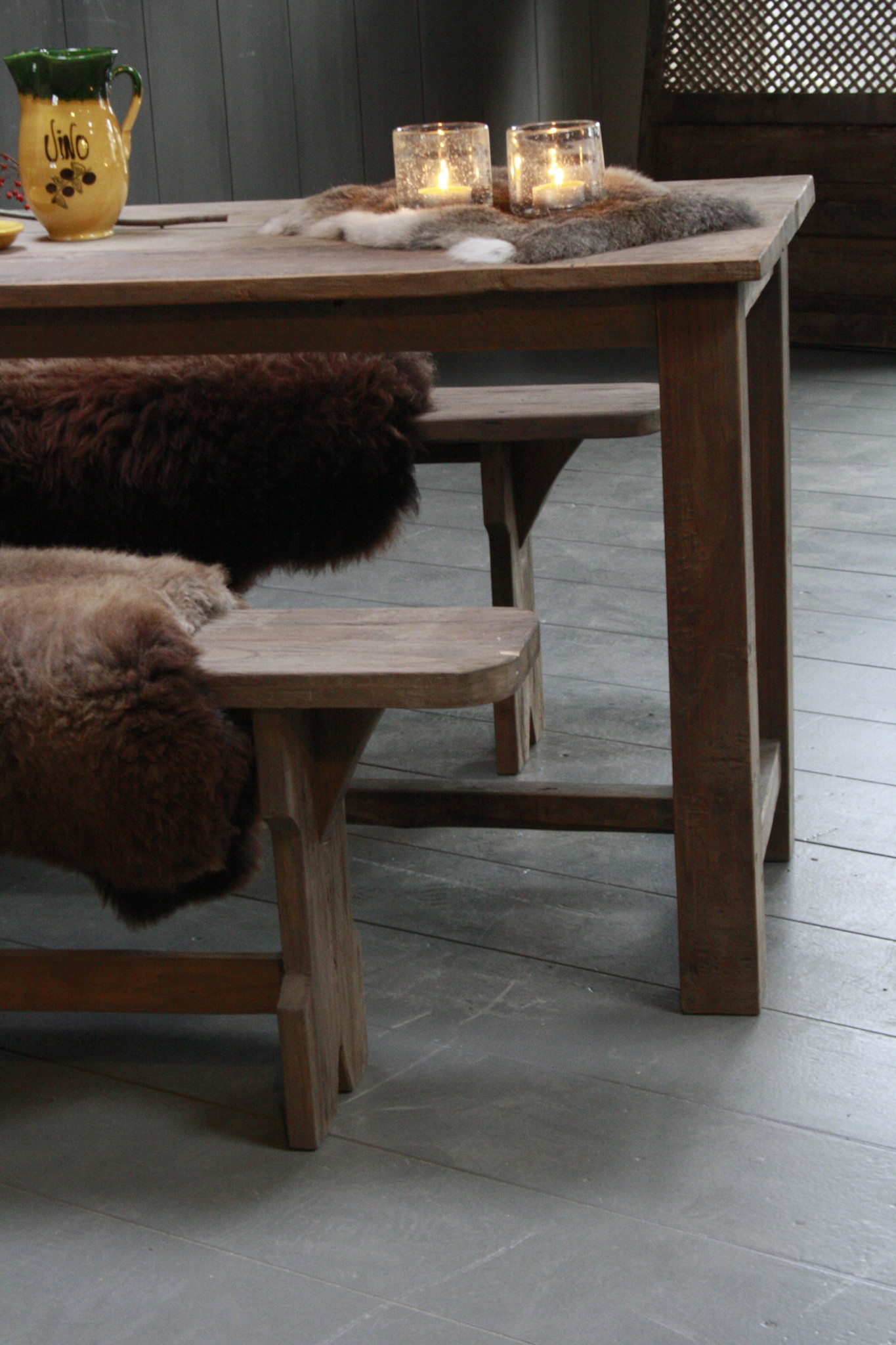 Oud houten eetkamer set met 2 houten bankjes-4
