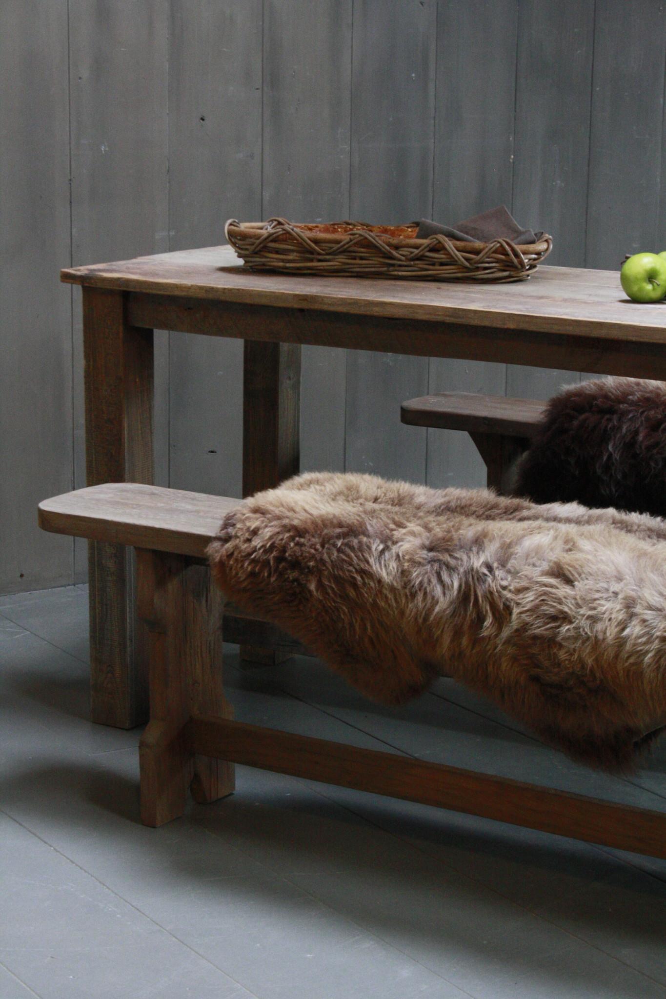 Oud houten eetkamer set met 2 houten bankjes-5
