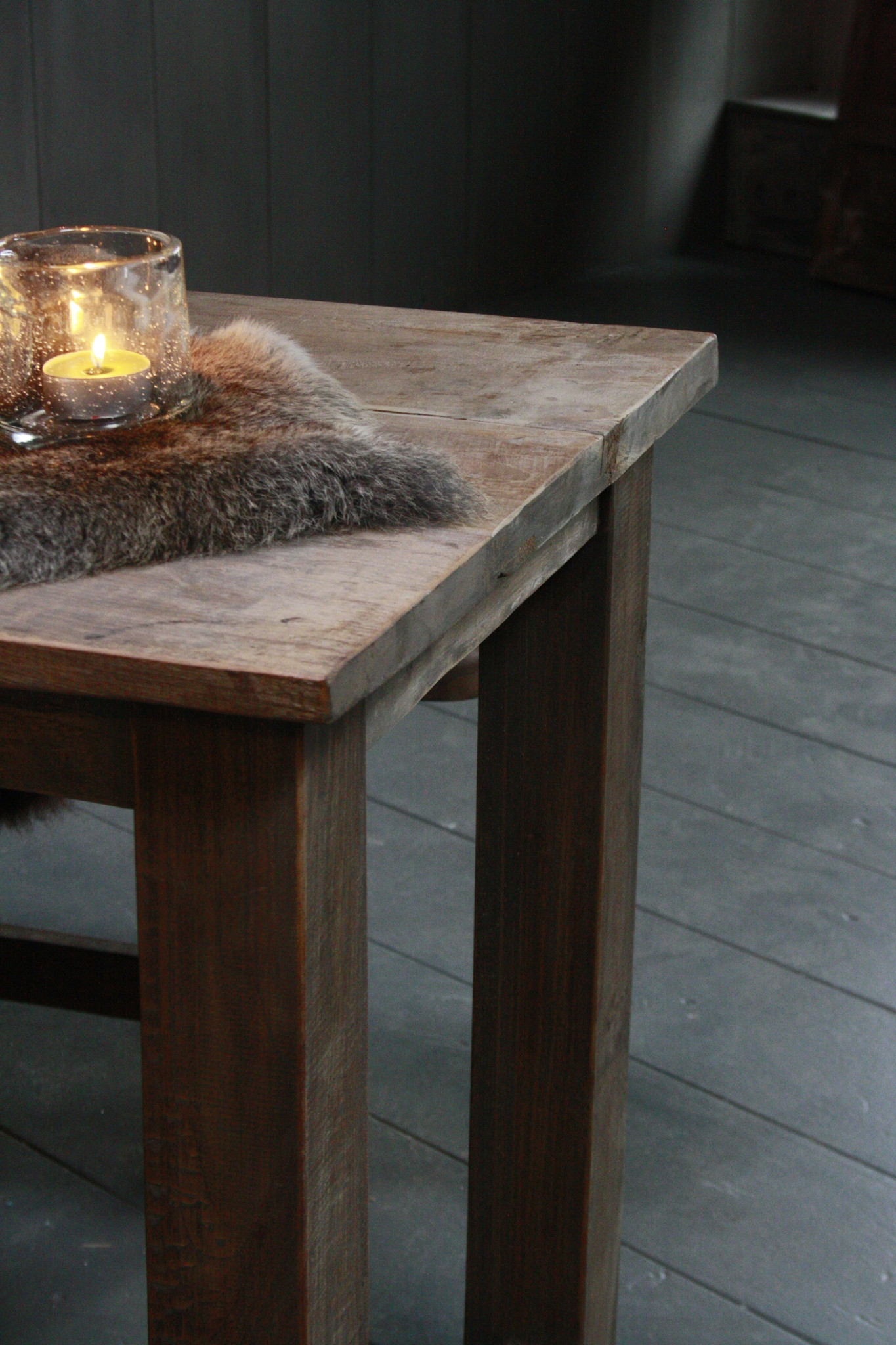Oud houten eetkamer set met 2 houten bankjes-6