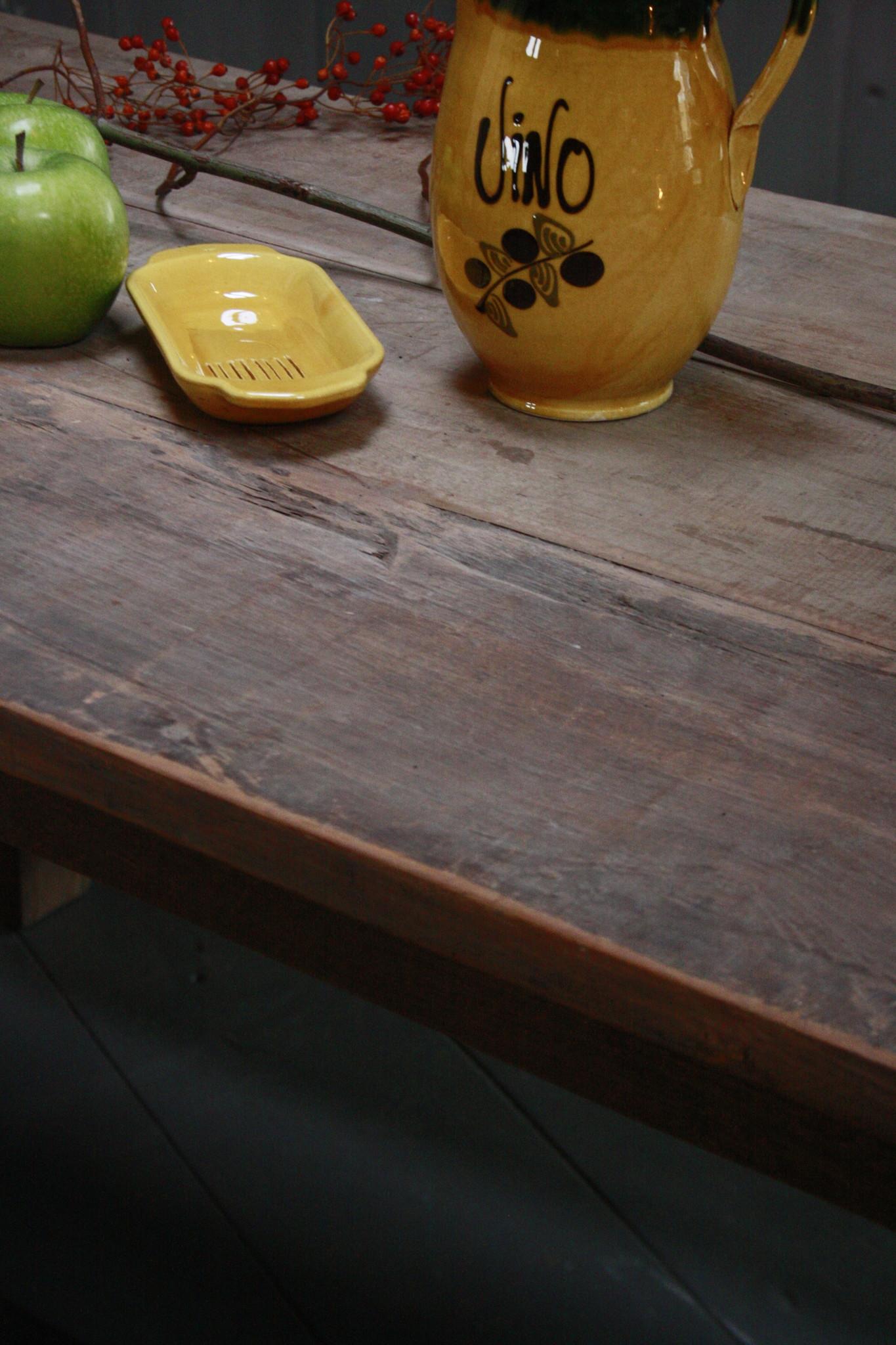 Oud houten eetkamer set met 2 houten bankjes-8