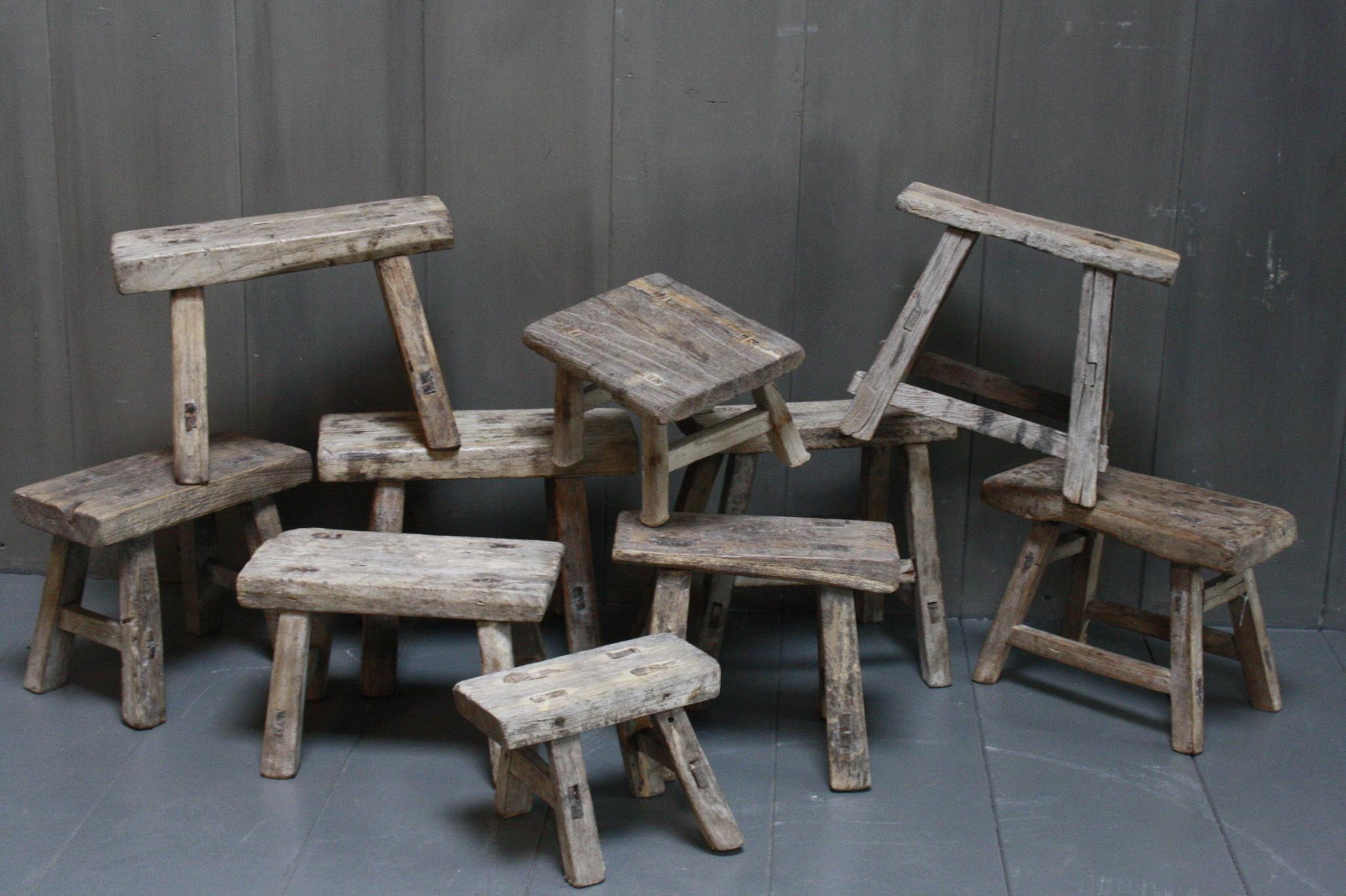 Uniek oud houten wc krukjes - Verschillende maten-4