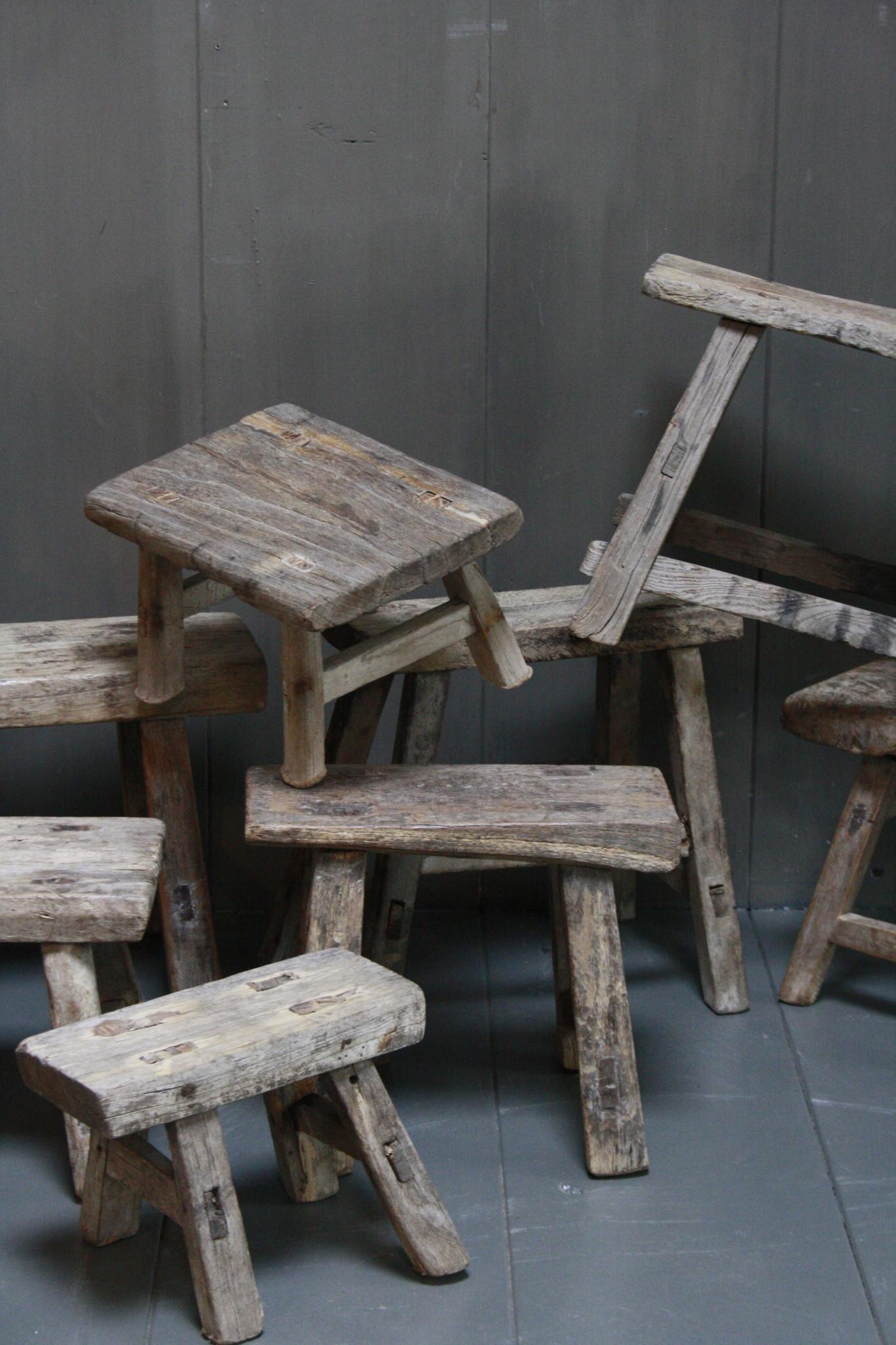 Uniek oud houten wc krukjes - Verschillende maten-5
