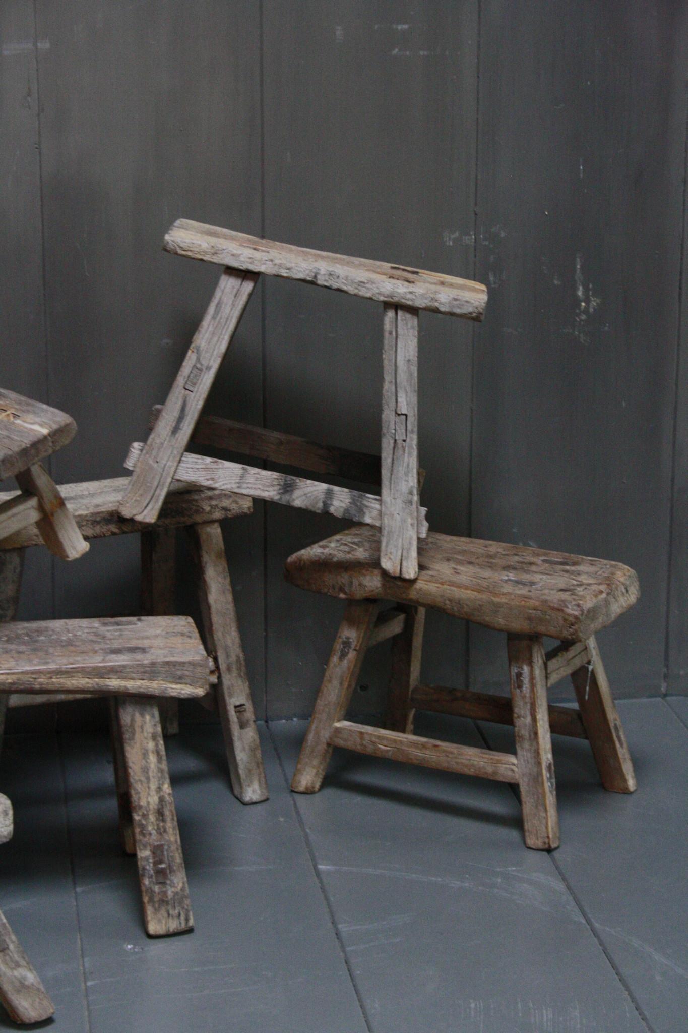 Uniek oud houten wc krukjes - Verschillende maten-6