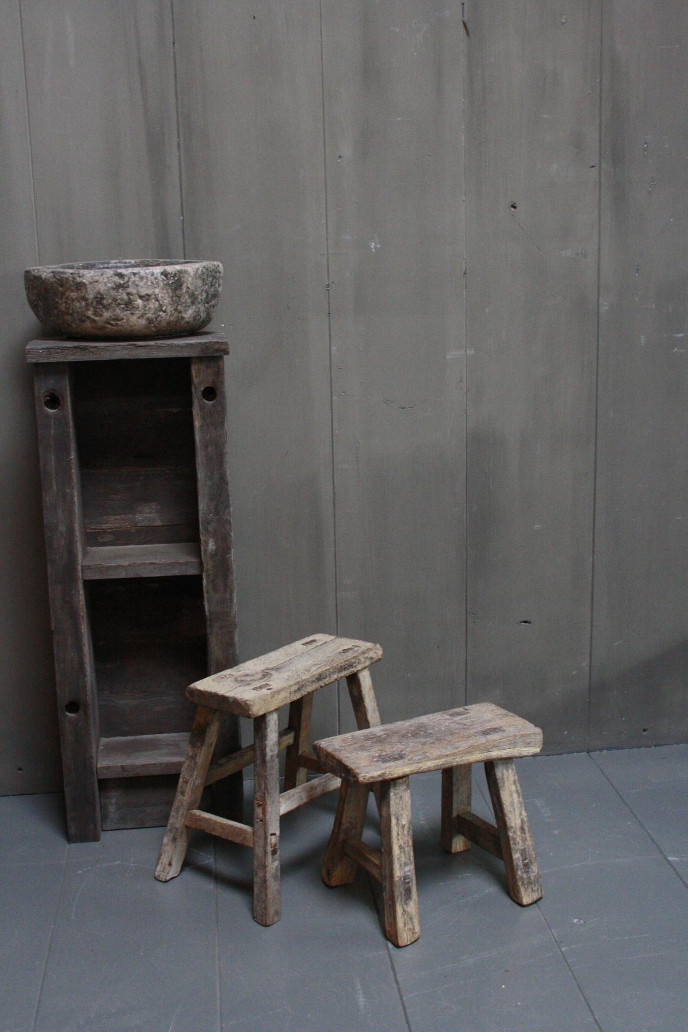 Uniek oud houten wc krukjes - Verschillende maten-1