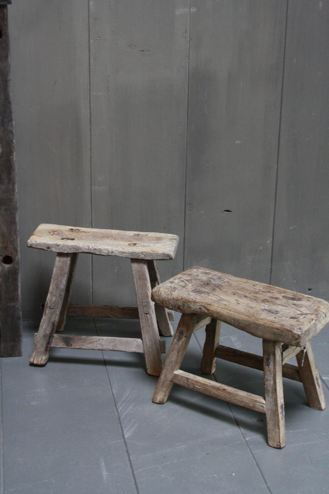 Uniek oud houten wc krukjes - Verschillende maten-7