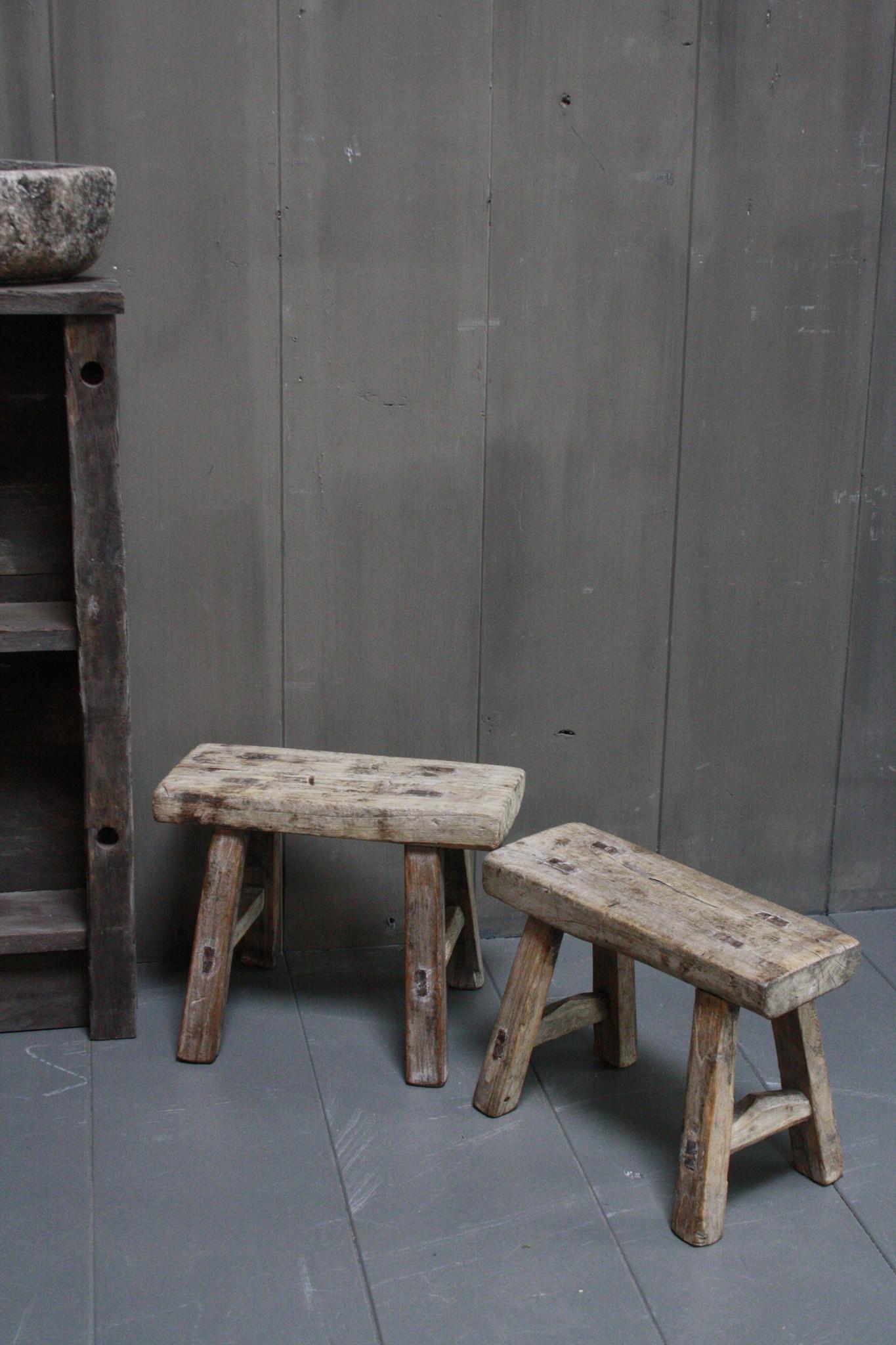 Uniek oud houten wc krukjes - Verschillende maten-2