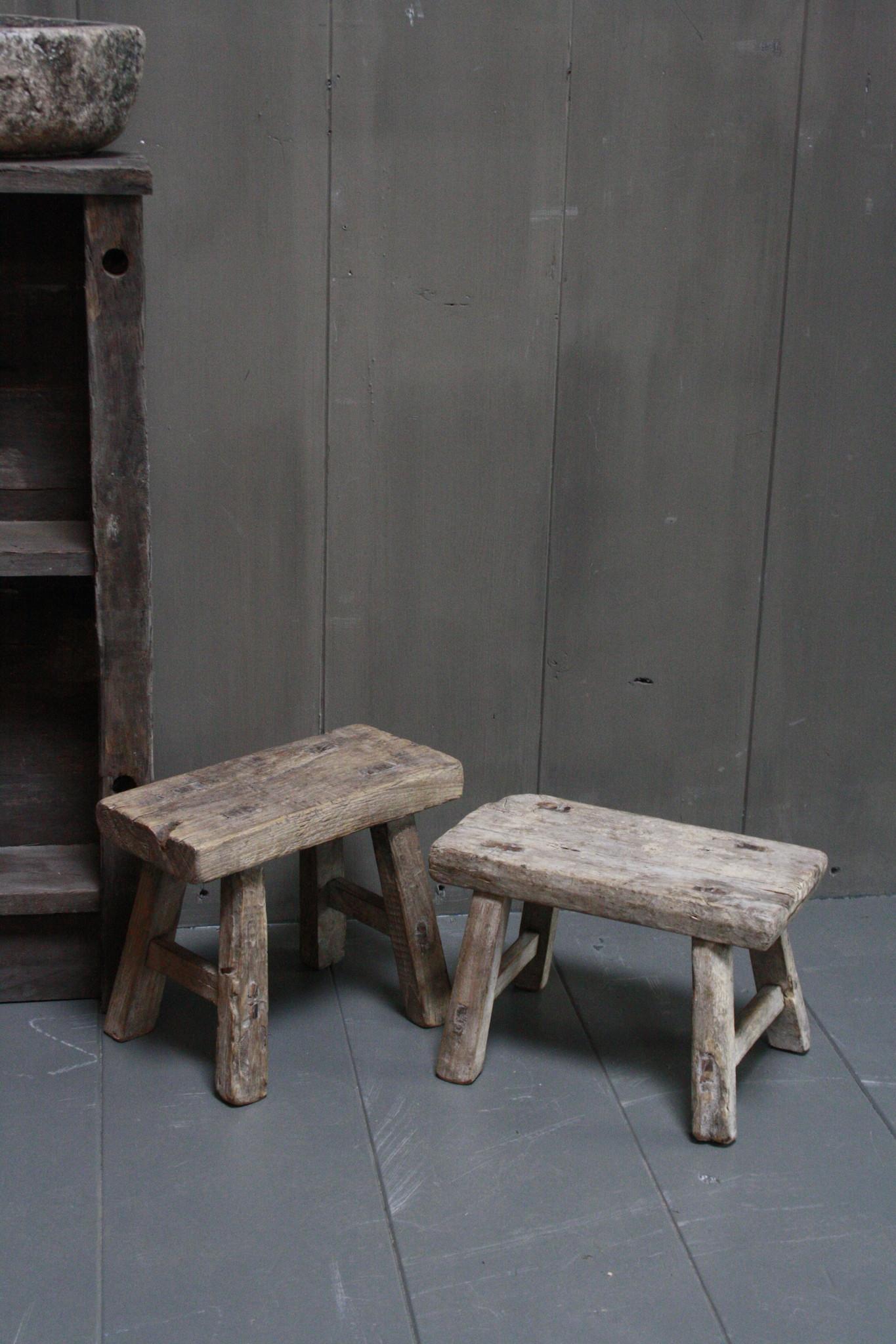 Uniek oud houten wc krukjes - Verschillende maten-3