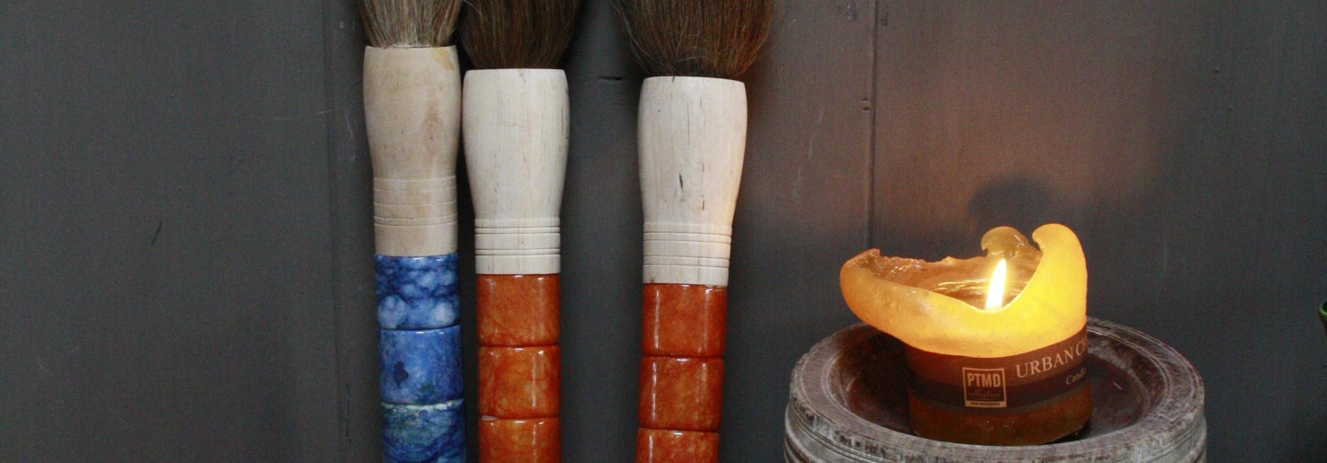 Originele Aziatische Kalligrafeerkwast Oranje